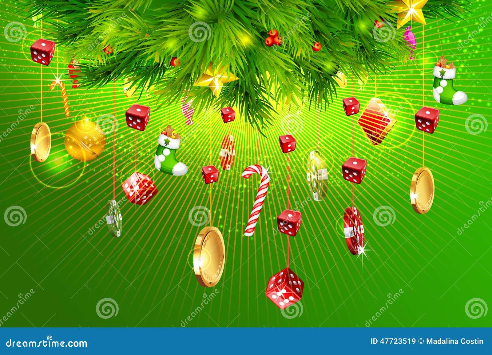 Árbol de navidad con las monedas del dinero, de los dados y del casino