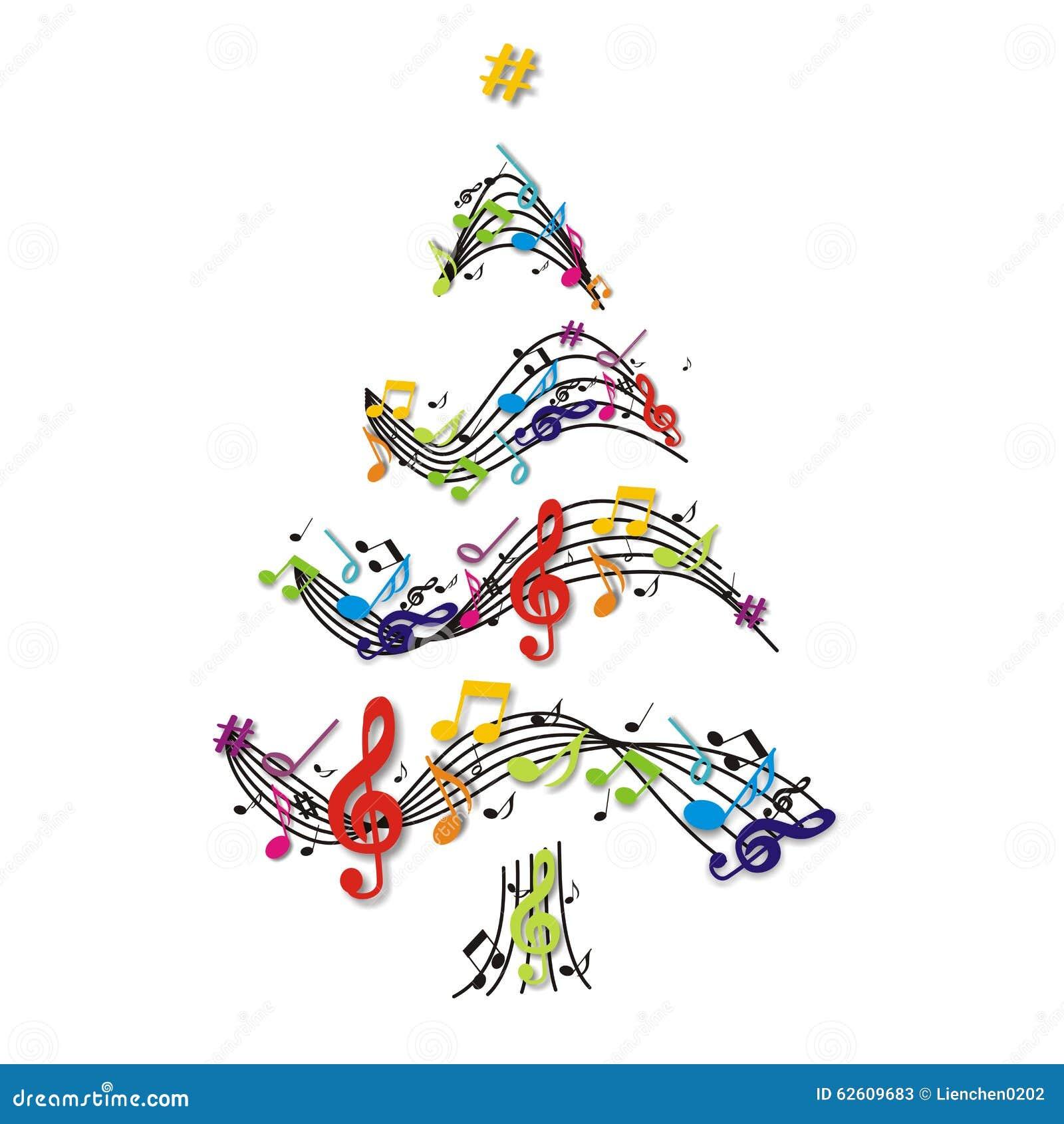 rbol de navidad con las notas stock de ilustraci n