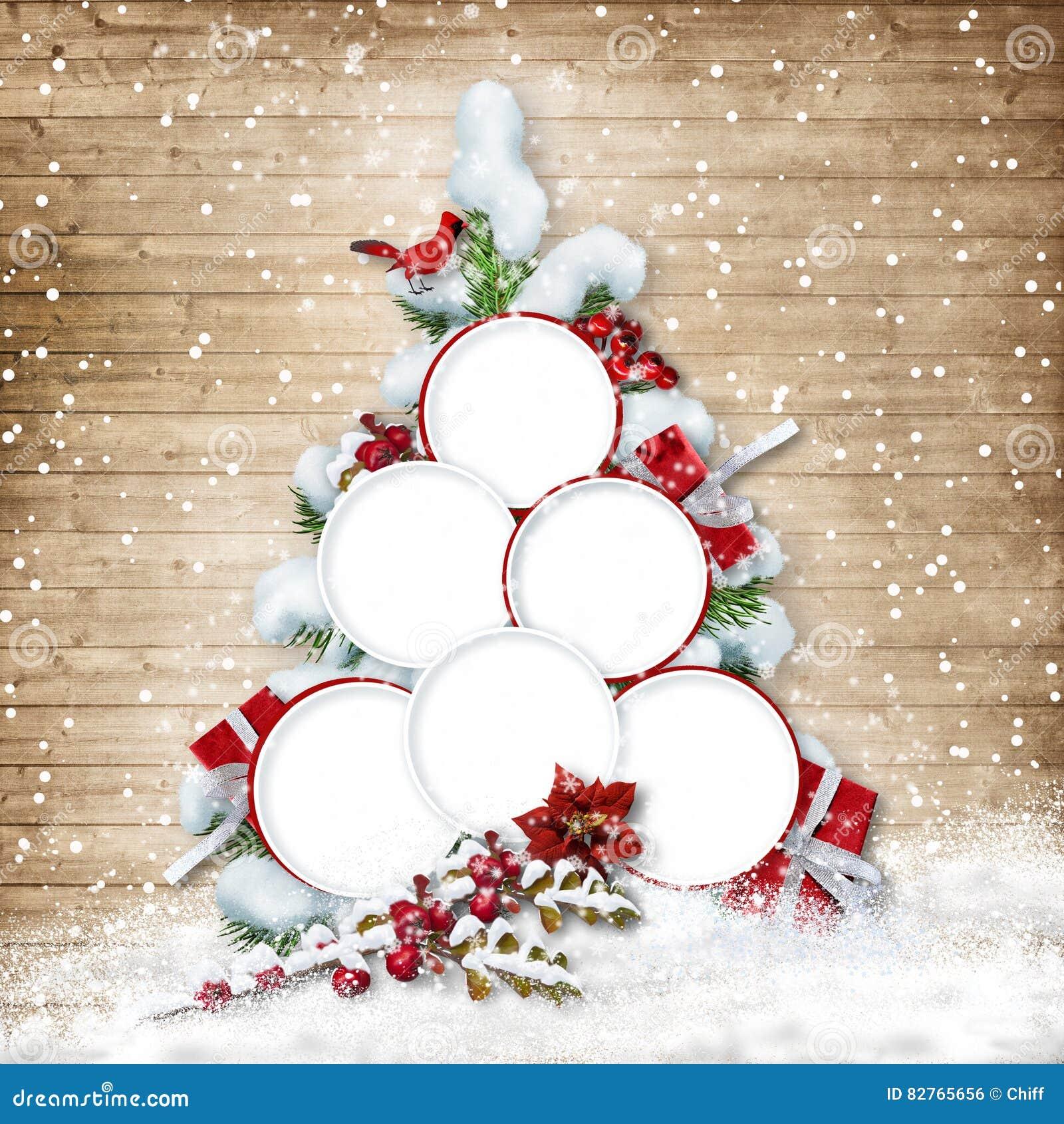 Árbol De Navidad Con Los Marcos Para Las Fotos De Familia En ...
