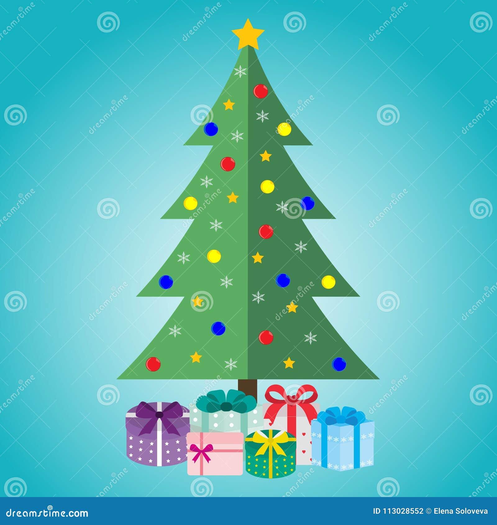 Árbol de navidad con los regalos en un fondo azul