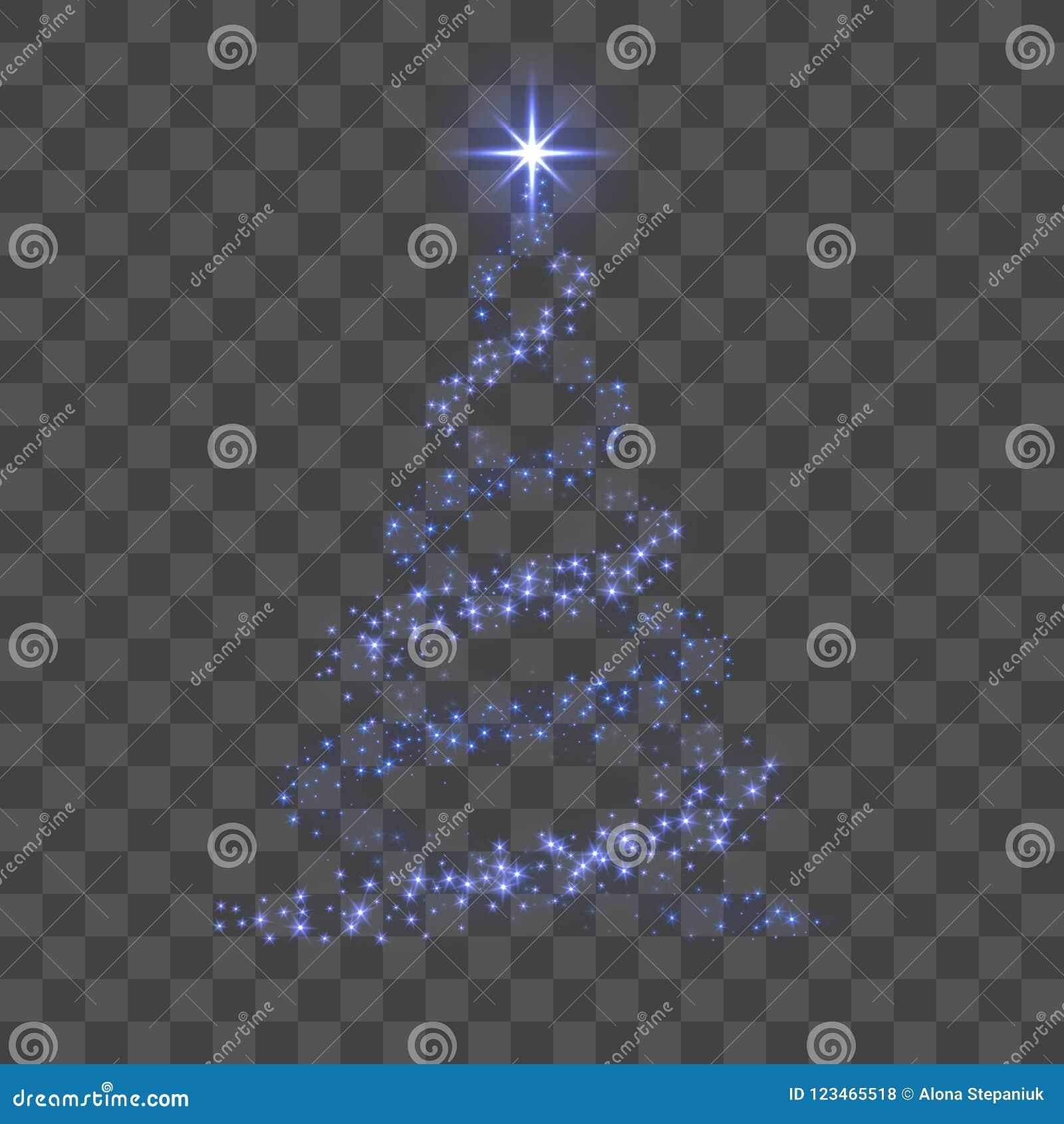 Árbol de navidad 3d para la tarjeta Fondo transparente Árbol de navidad azul como símbolo de la Feliz Año Nuevo, Feliz Navidad