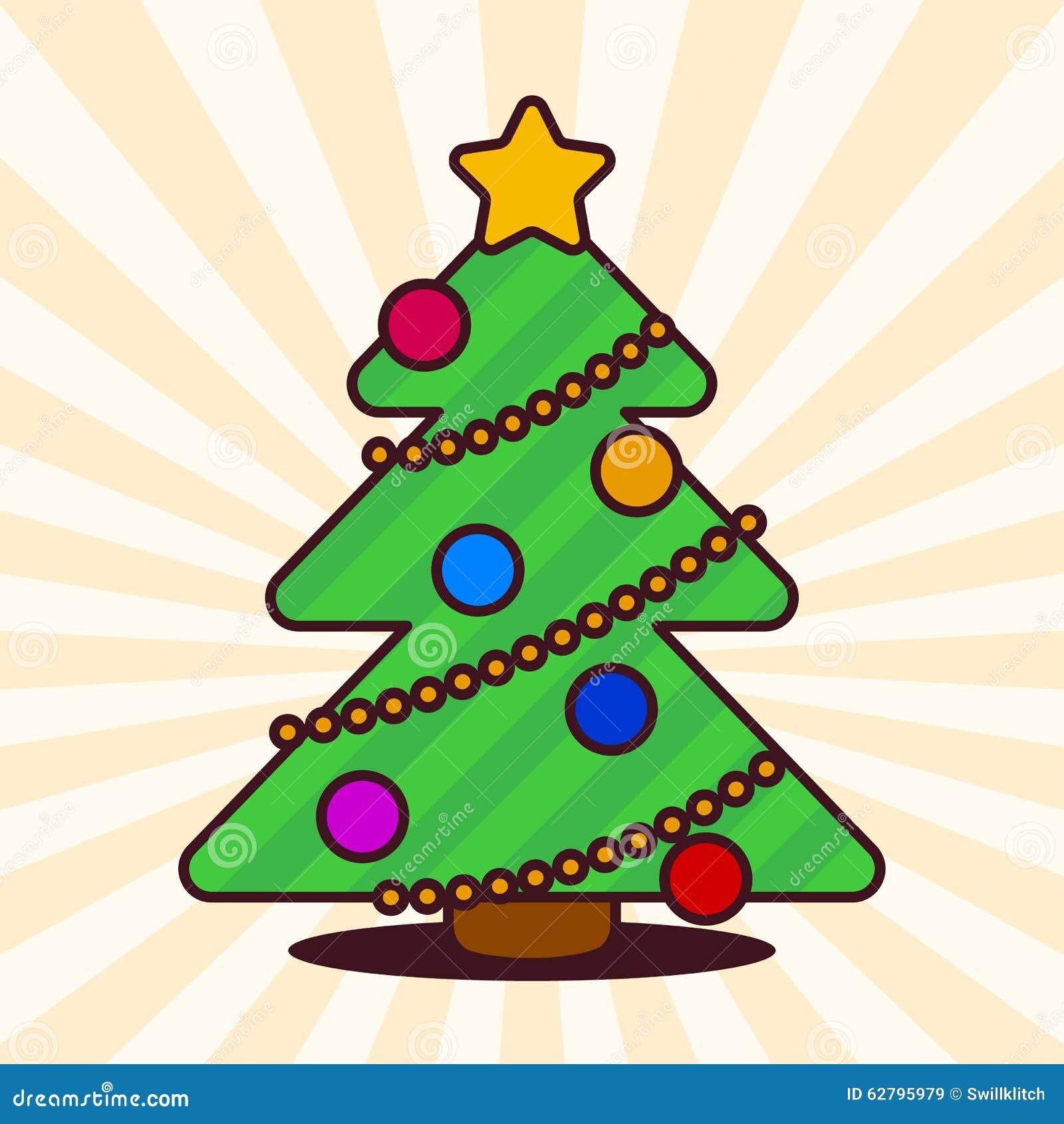 Arbol De Navidad De Kawaii Ilustracion Del Vector Ilustracion De