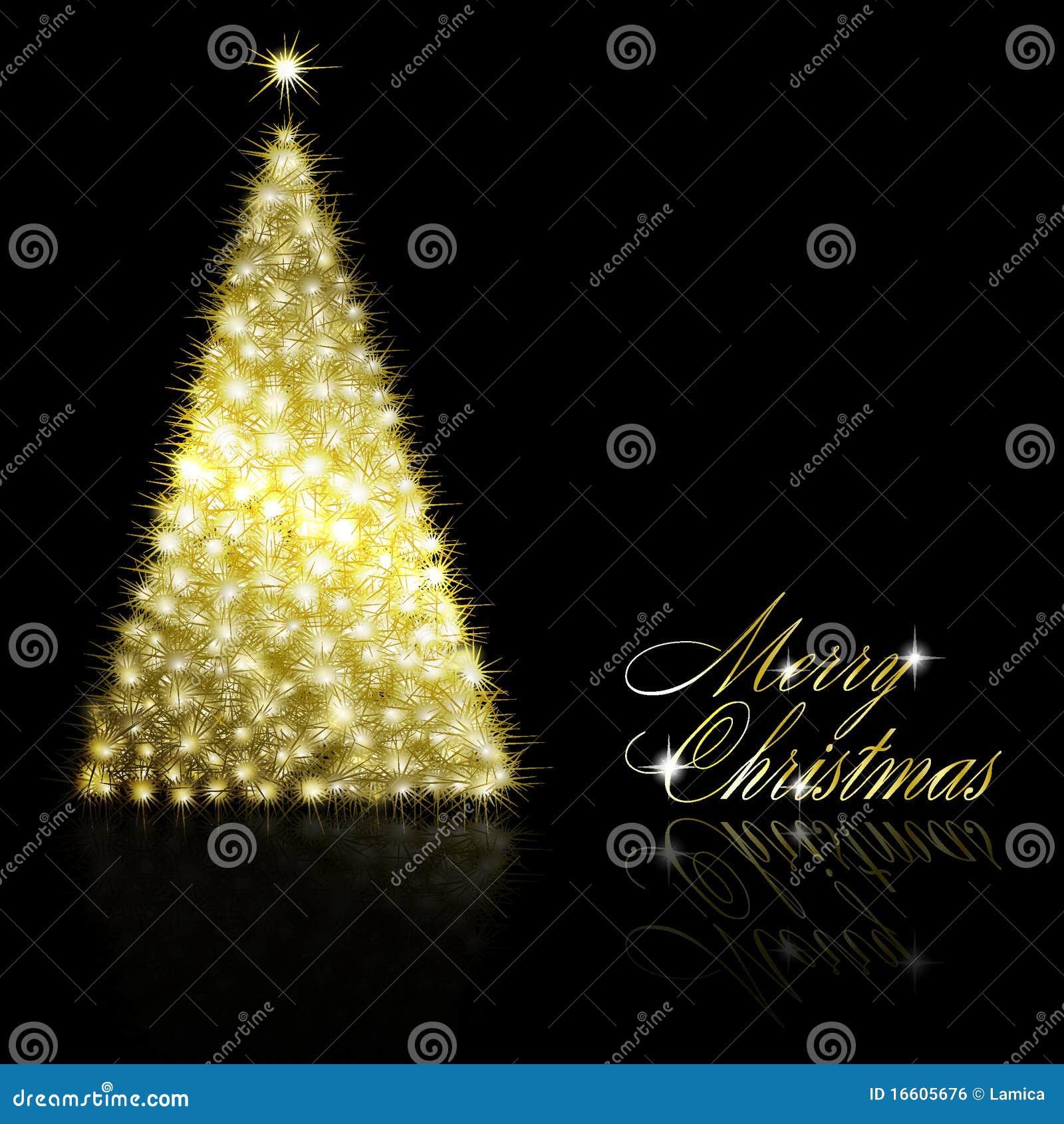 Rbol de navidad de oro en fondo negro imagen de archivo - Arboles de navidad dorados ...