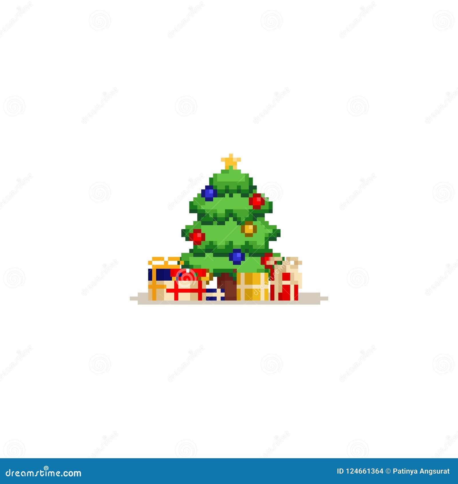 Árbol de navidad del pixel con las cajas de regalo 8bit
