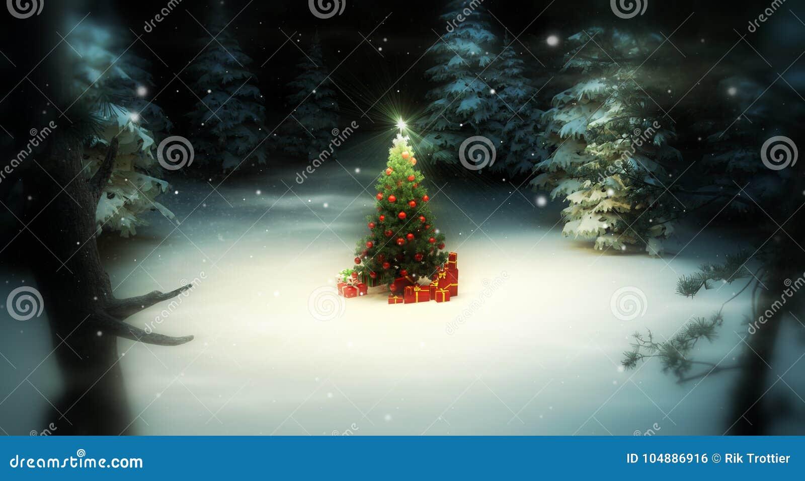 Árbol de navidad en bosque