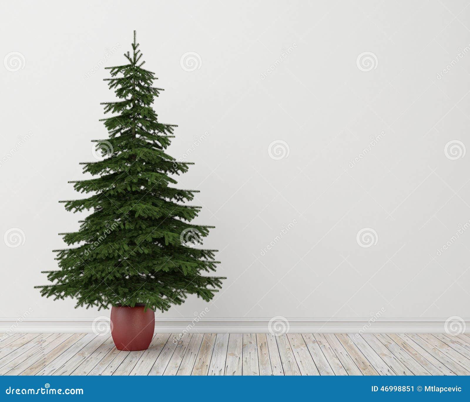 Rbol de navidad en sitio con el piso de madera y la pared - Arbol de navidad para pared ...