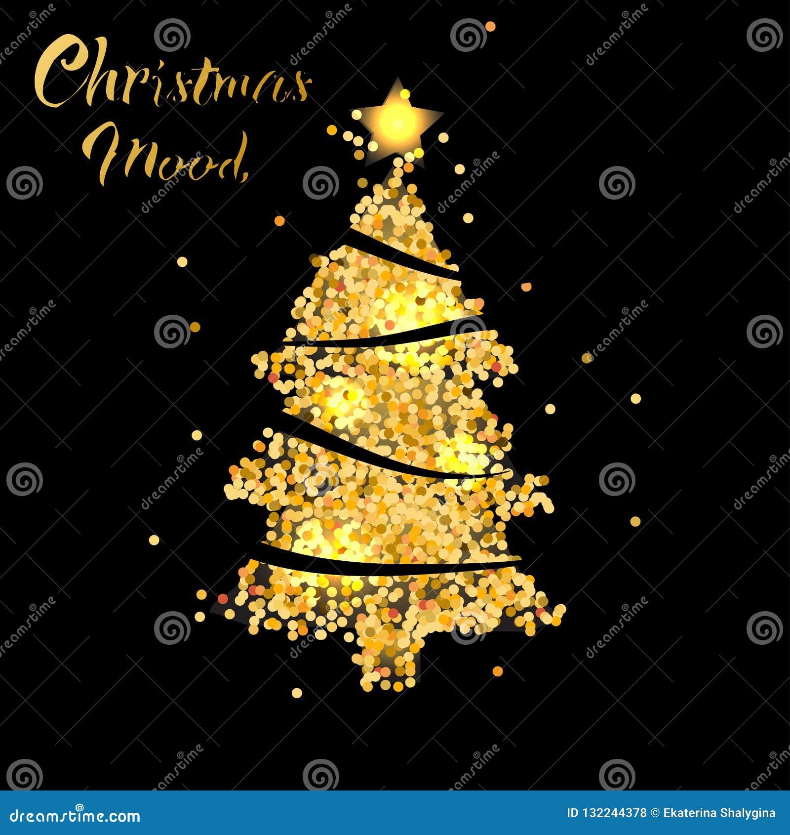 Árbol de navidad en textura del oro con la estrella