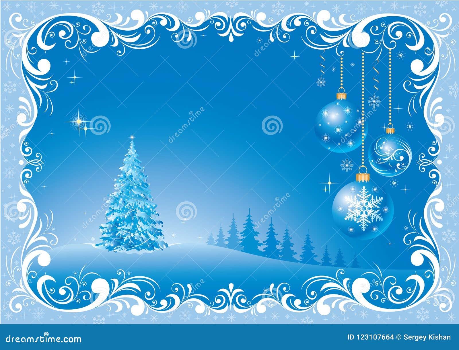 Imagenes De Navidad 2019.Arbol De Navidad 2019 En Un Fondo Azul En Un Marco Con Un