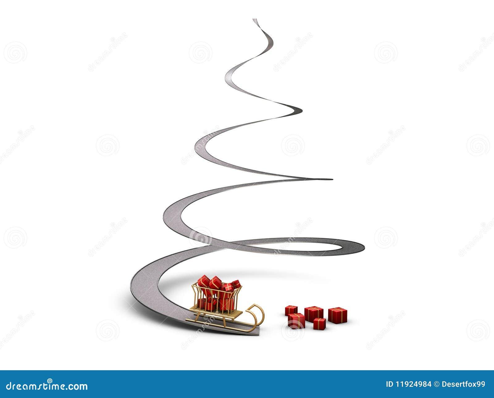 193 rbol de navidad espiral con el trineo imagenes de archivo imagen