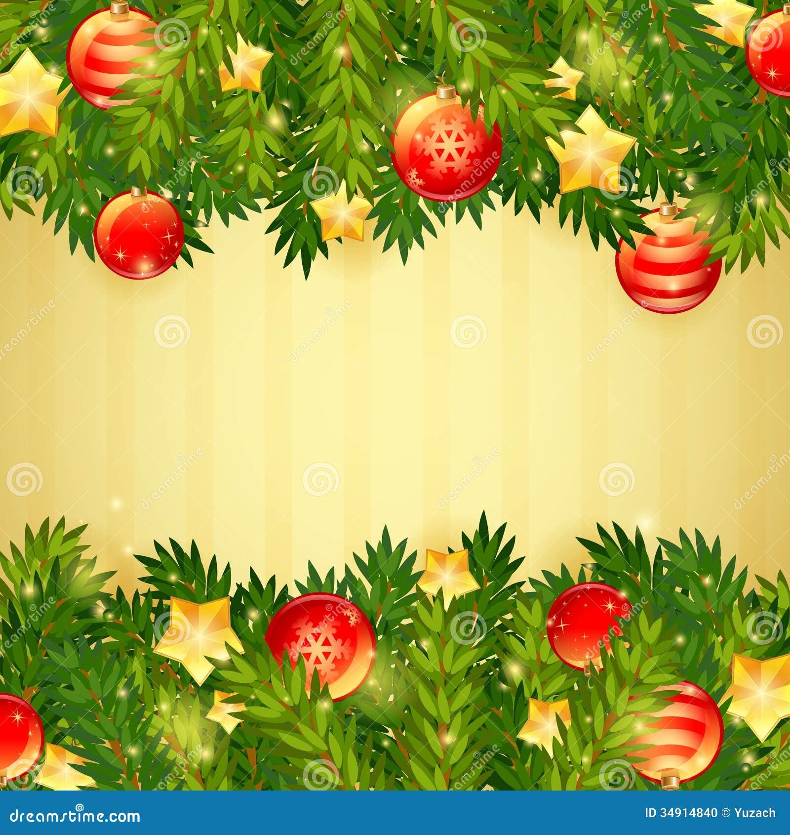 Rbol de navidad estrellas y tarjeta festiva de las bolas - Arbol de navidad de bolas ...