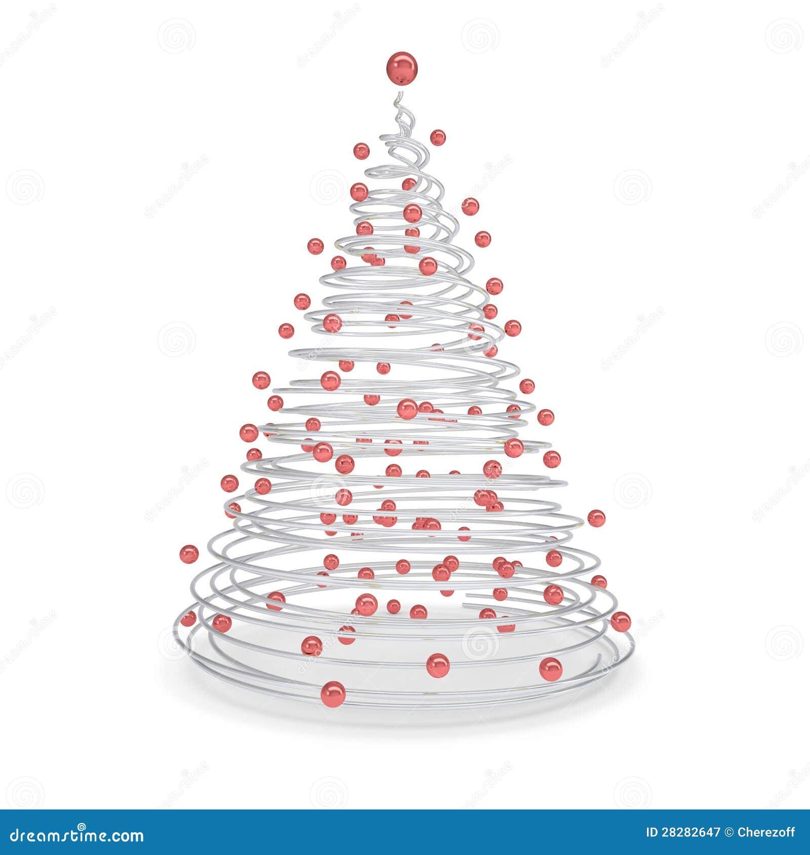 Rbol de navidad hecho de espirales del metal y de bolas rojas for Arbol de navidad con bolas rojas