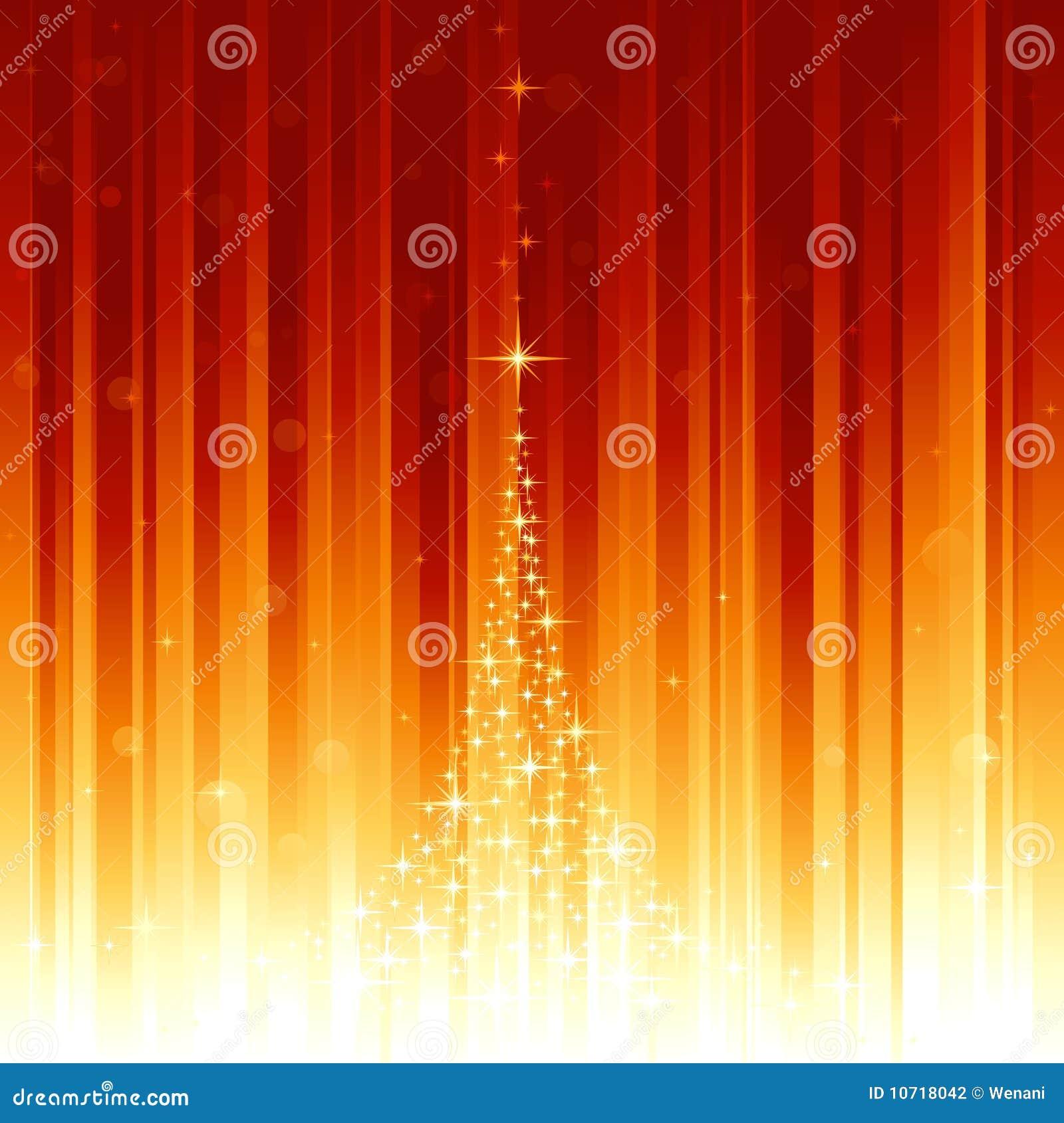 Árbol de navidad mágico y puntos ligeros defocused en v