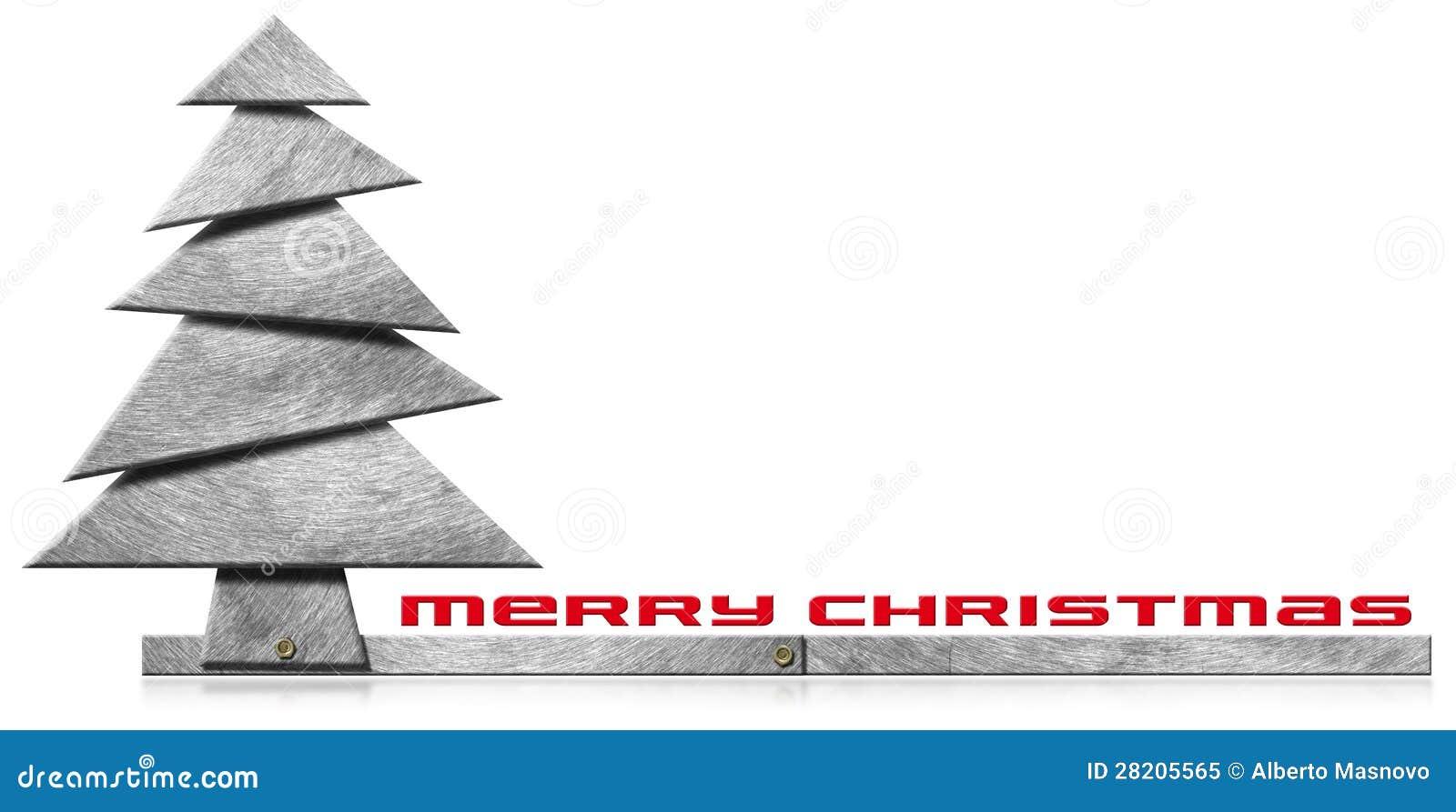42f12014199 Feliz árbol de navidad metálico con las pistas de tornillos en el fondo  blanco