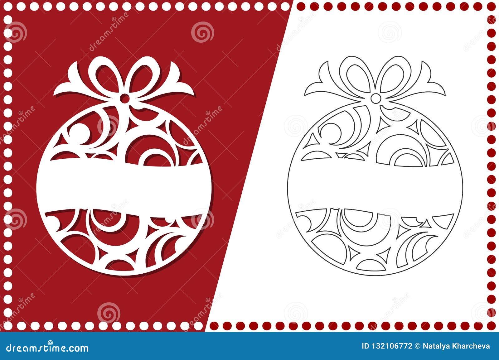 Árbol de navidad moderno El juguete del Año Nuevo para el corte del laser Ilustración del vector