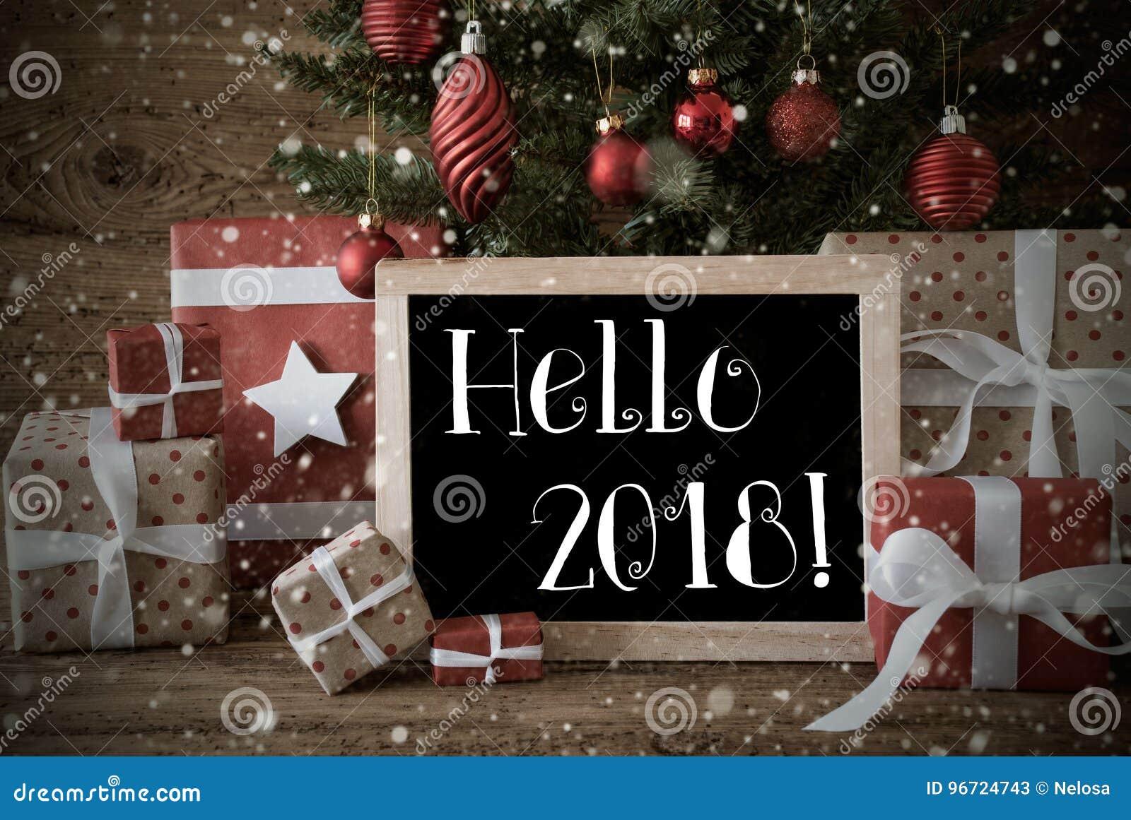 Árbol De Navidad Nostálgico Con Hola 2018, Copos De Nieve Imagen de ...