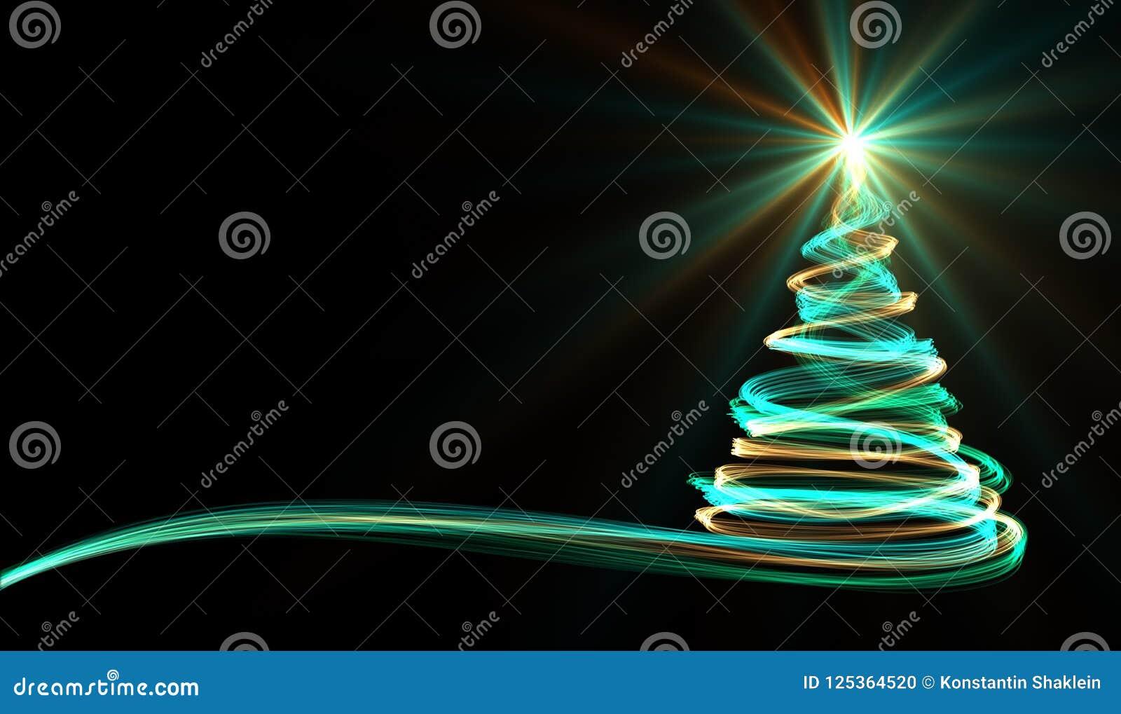 Árbol de navidad de rayas de neón amarillas, azules y verdes