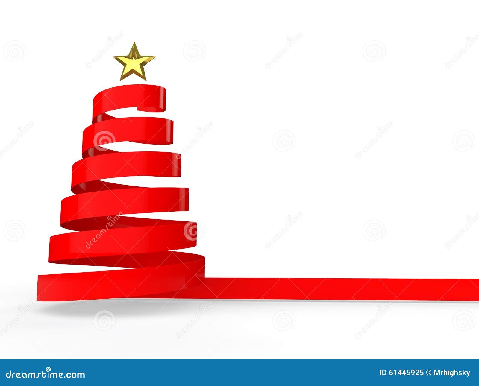 Rbol de navidad rojo de la cinta 3d stock de ilustraci n - Cintas navidad para arbol ...
