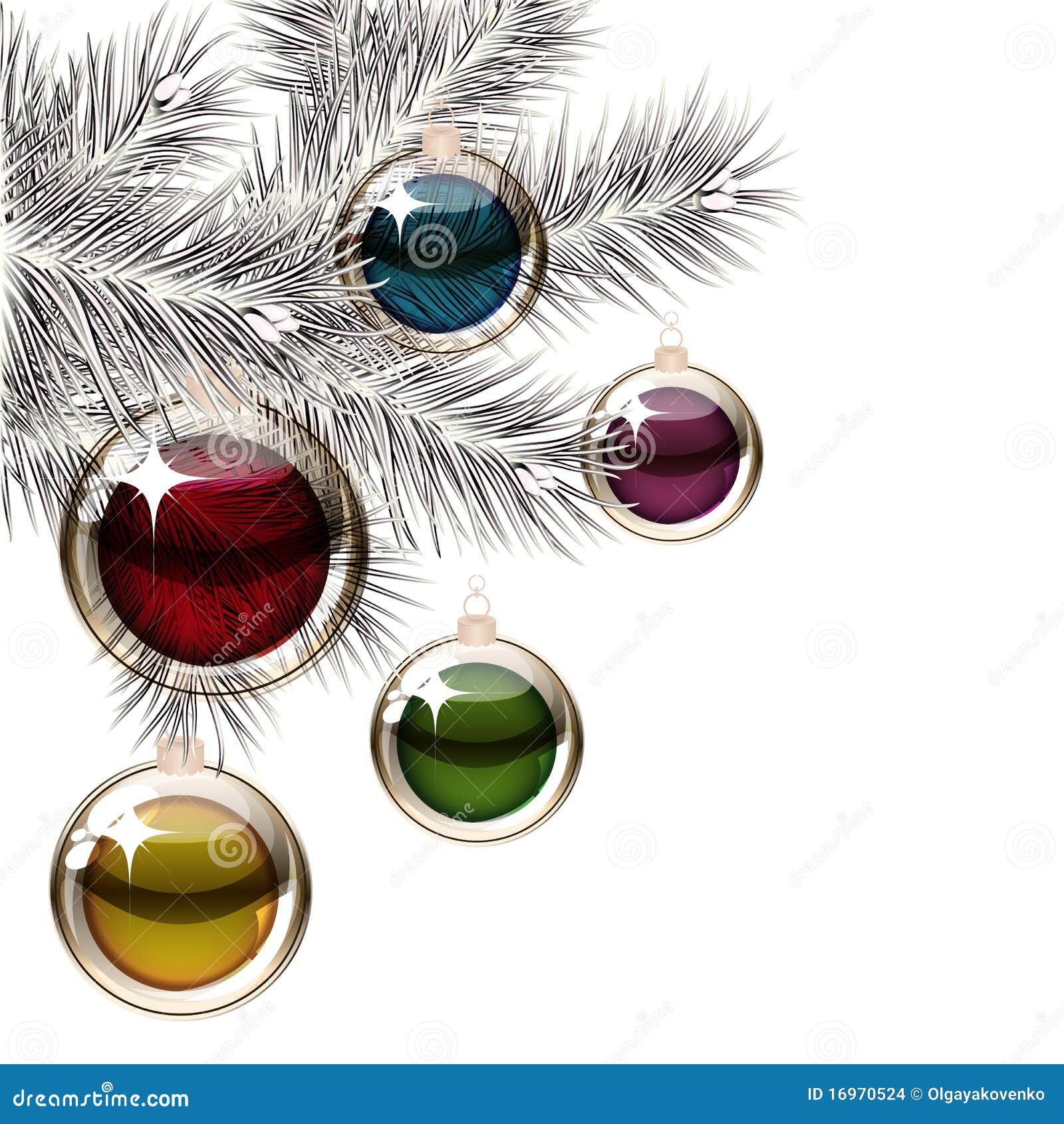 Rbol de navidad y bolas transparentes ilustraci n del vector ilustraci n de celebre - Bolas navidad transparentes ...
