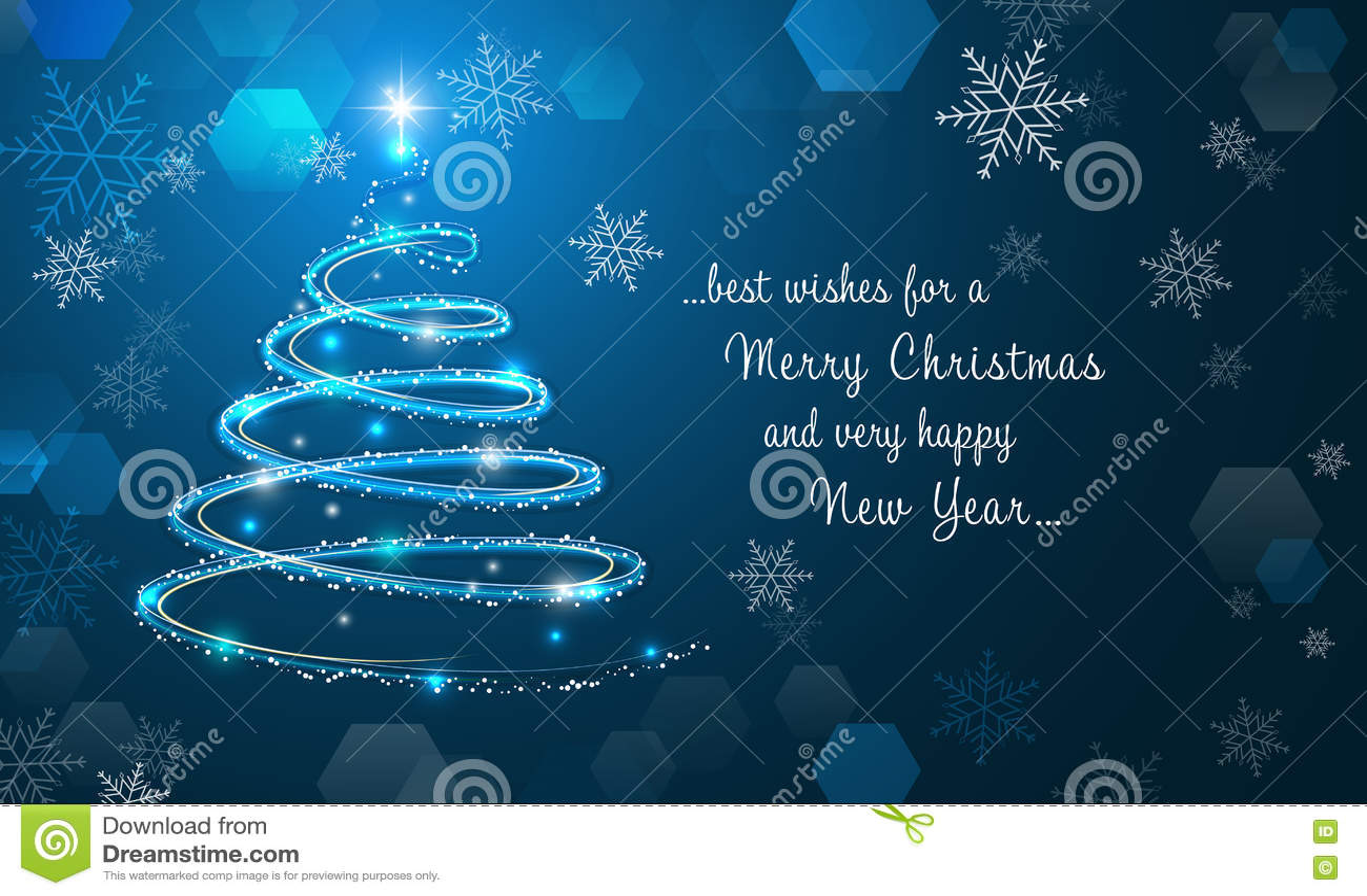 Árbol de navidad y copos de nieve brillantes en fondo azul del invierno Feliz Navidad y papel pintado de la Feliz Año Nuevo