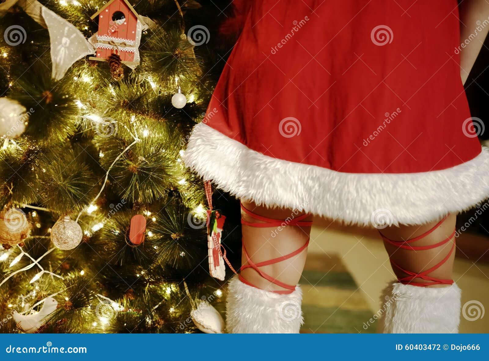 db0b96cfd0 Árbol De Navidad Y Falda De La Muchacha Santa Claus Foto de archivo ...