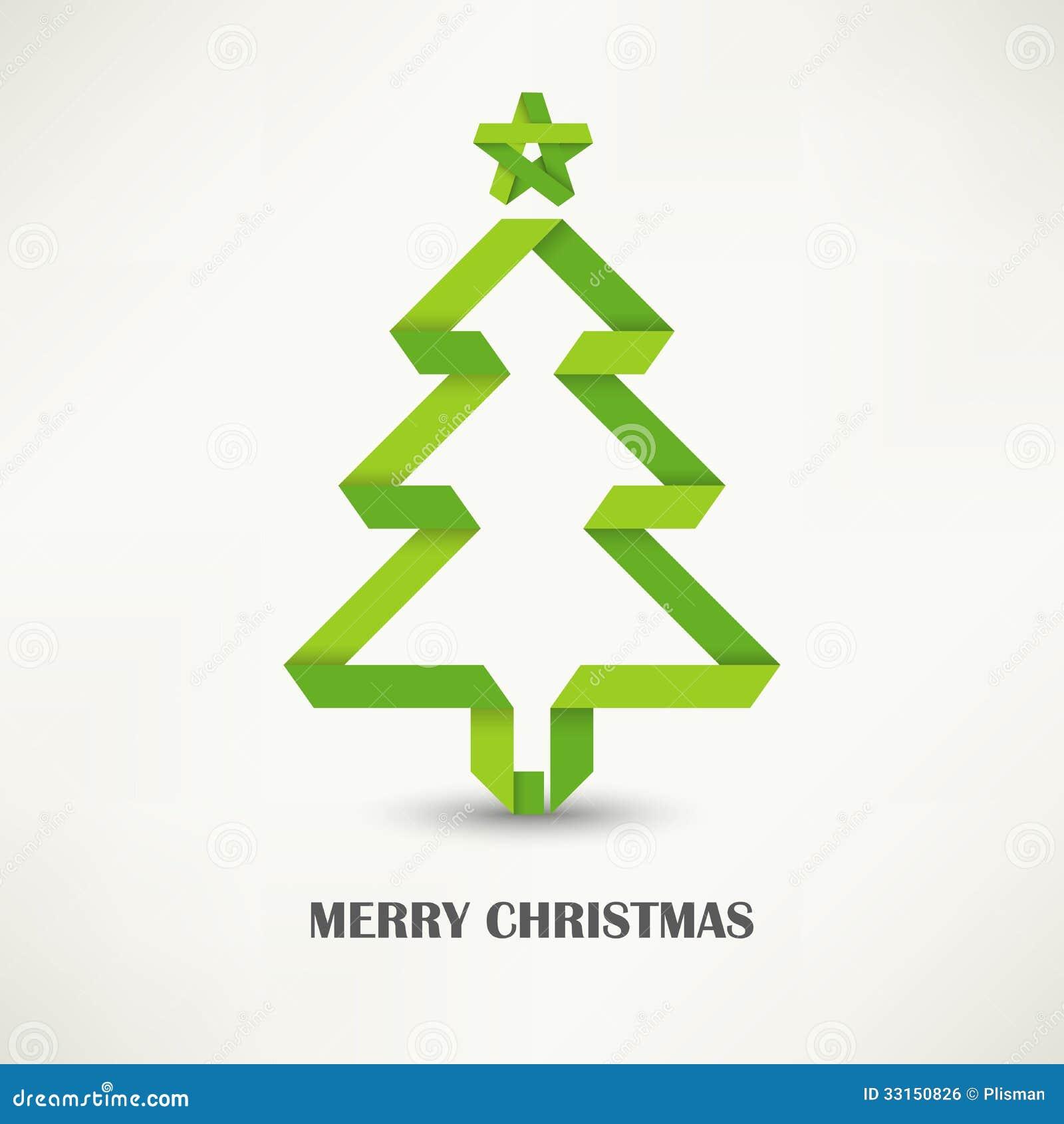 rbol de papel doblado del verde de la navidad imagen de archivo libre de regalas