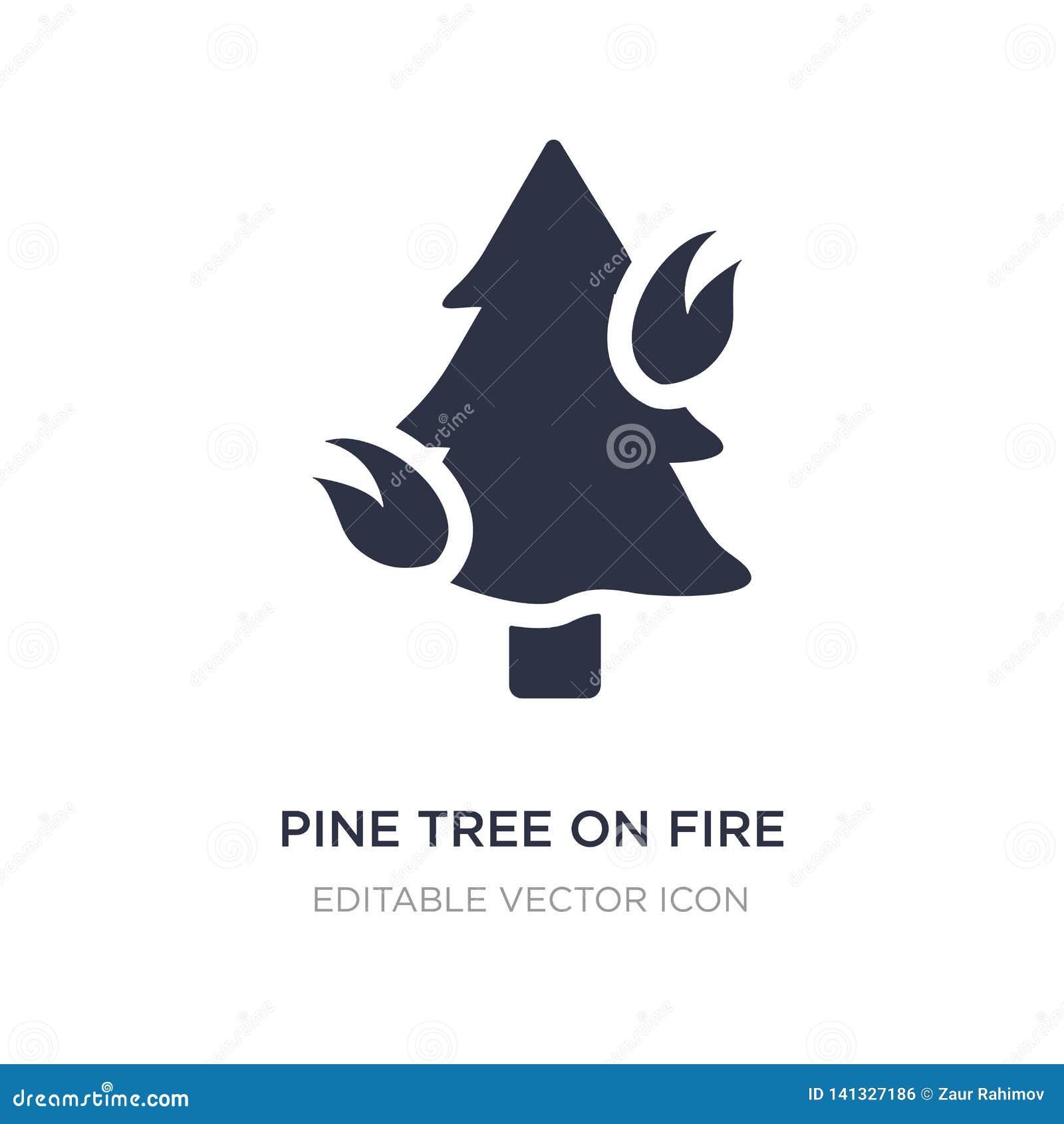 árbol de pino en icono del fuego en el fondo blanco Ejemplo simple del elemento del concepto de la naturaleza