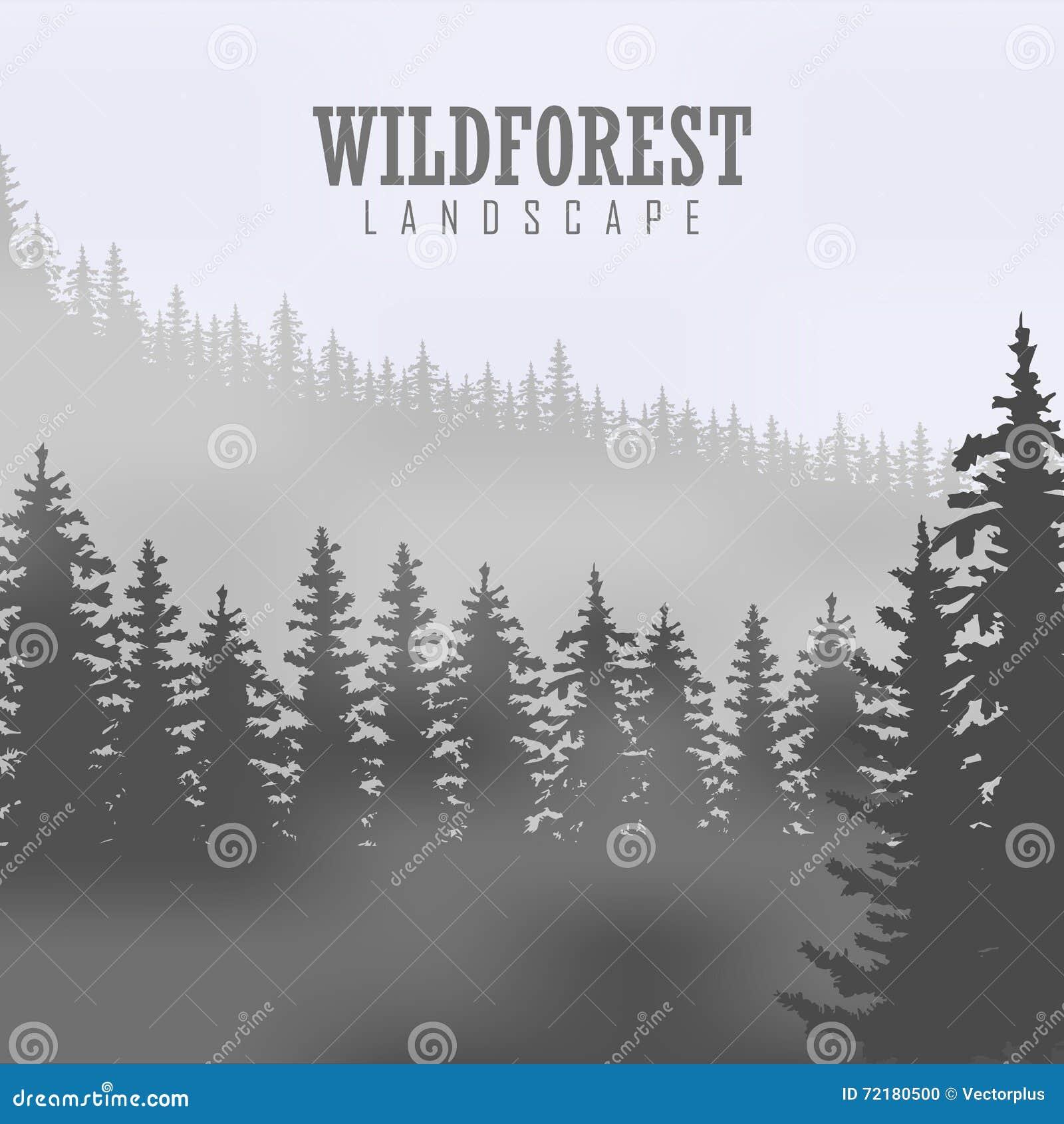 Árbol de pino, naturaleza del paisaje, panorama natural de madera Plantilla al aire libre del diseño que acampa Ilustración del v