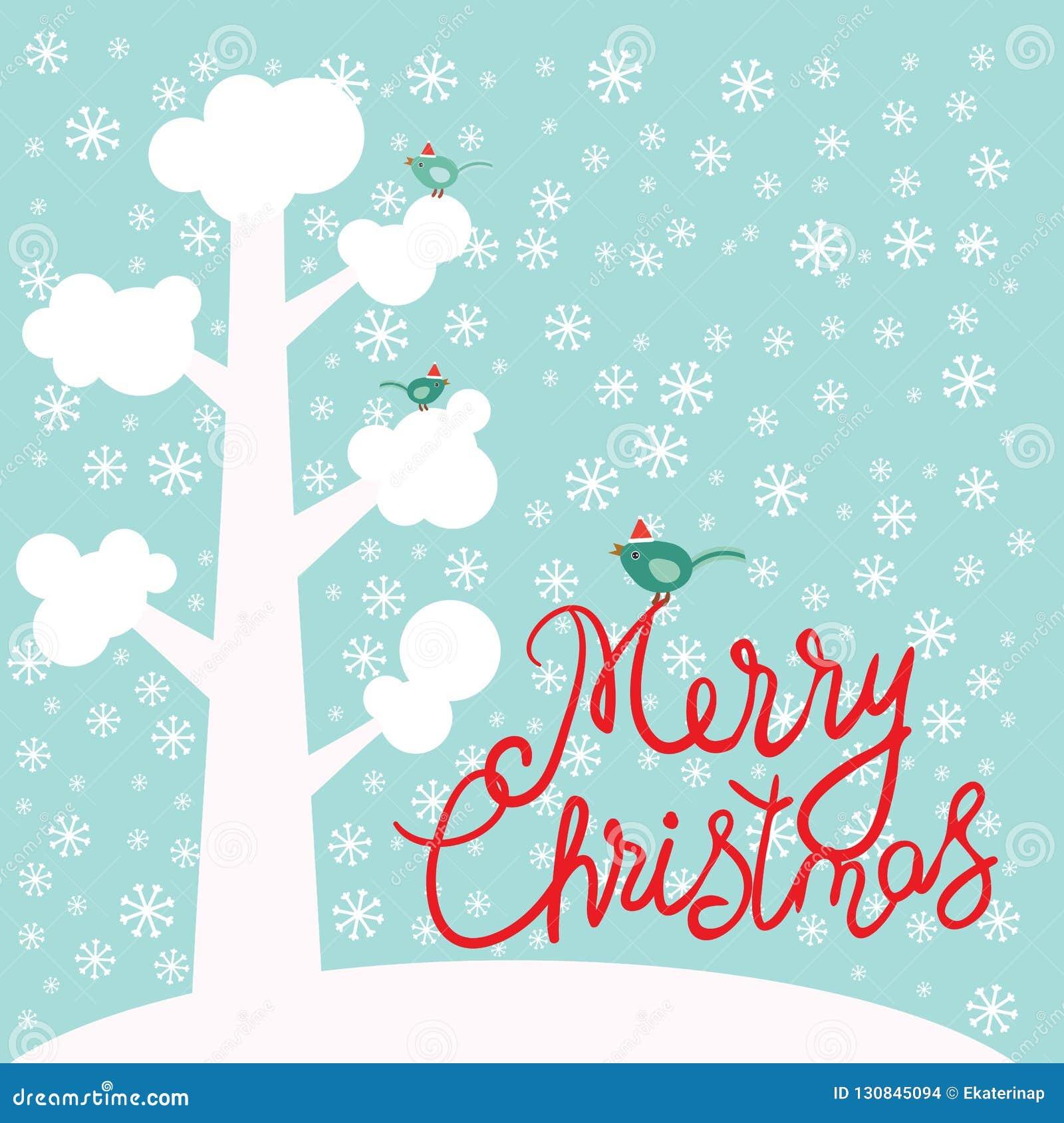 Árbol del diseño de la tarjeta del Año Nuevo de la Feliz Navidad con la nieve blanca en las ramas, pájaros, copos de nieve en fon