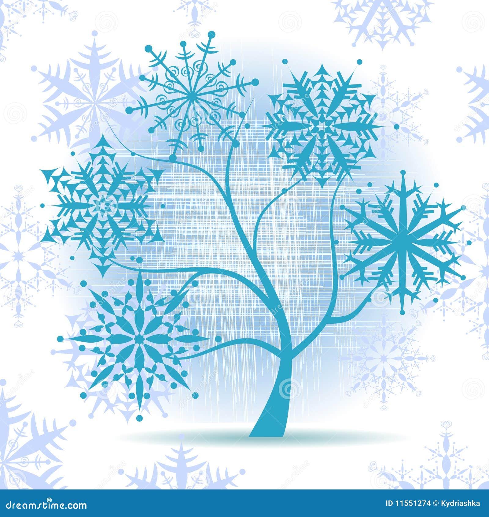 Rbol del invierno copos de nieve d a de fiesta de la - Arbol navidad nieve ...