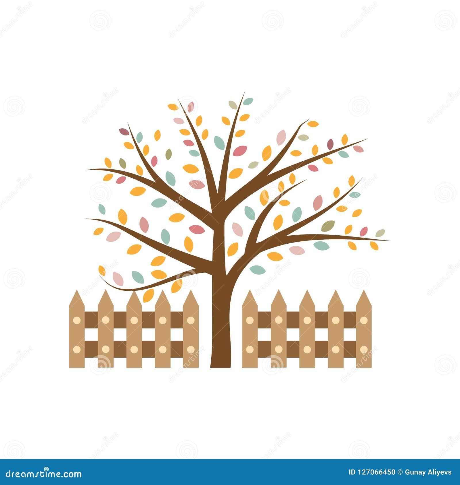 árbol Del Otoño Elemento Del Ejemplo Coloreado Del Otoño
