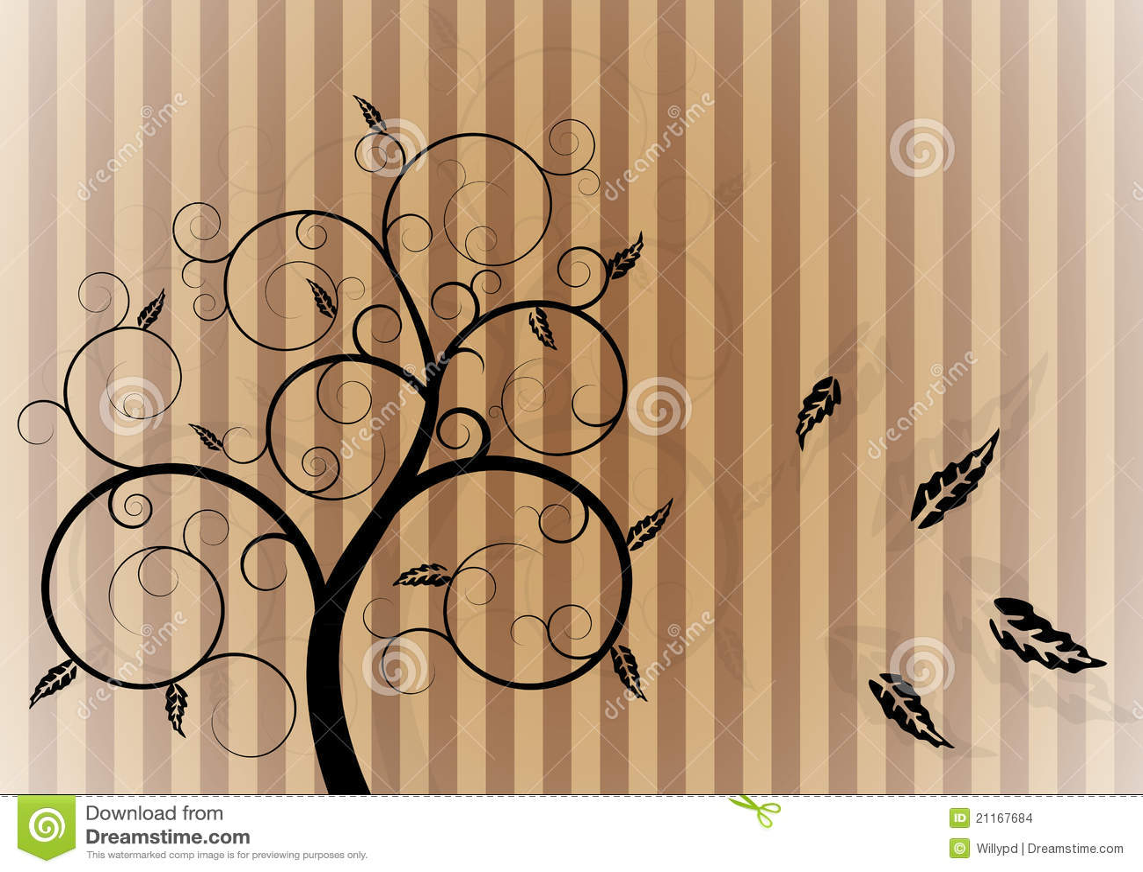 Árbol del remolino en otoño