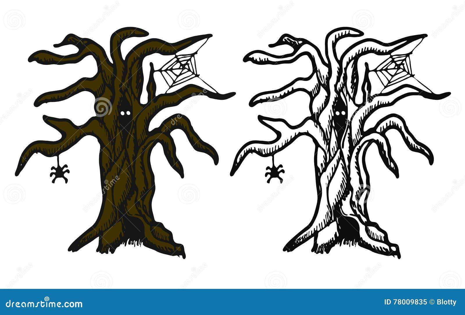 árbol Dibujado Mano De Halloween Del Garabato Objetos De La Pluma Y