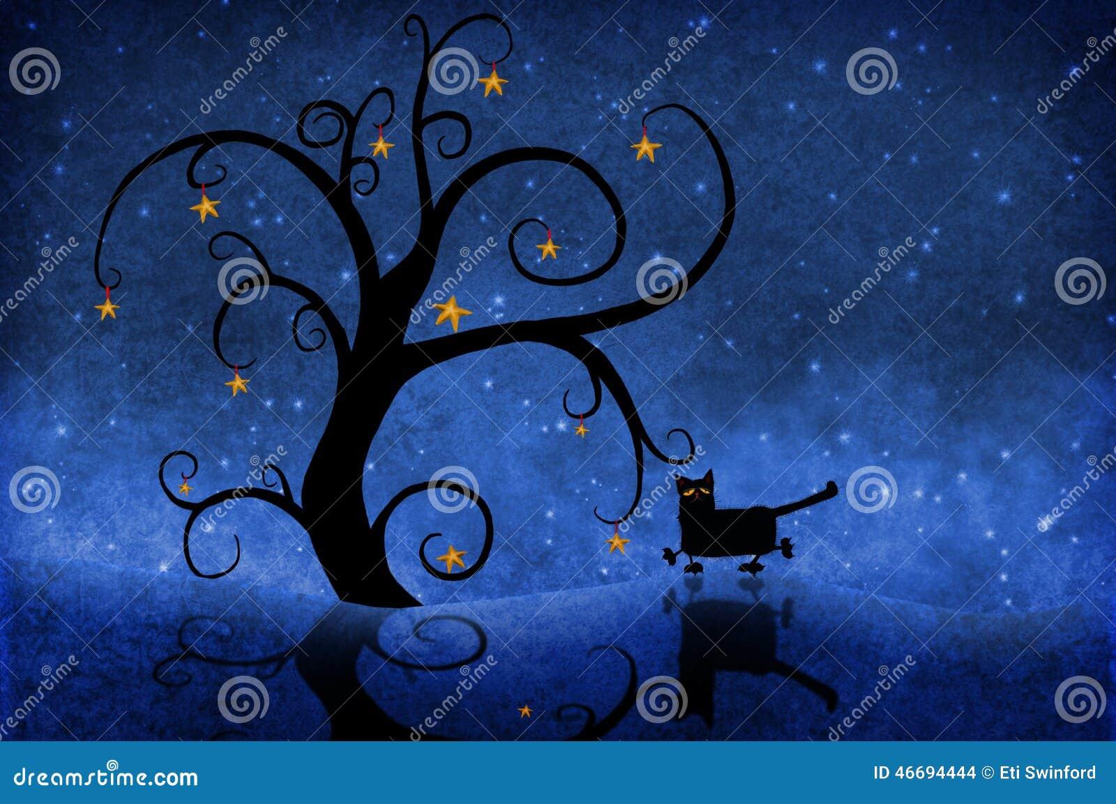 Árbol en la noche con estrellas y un gato