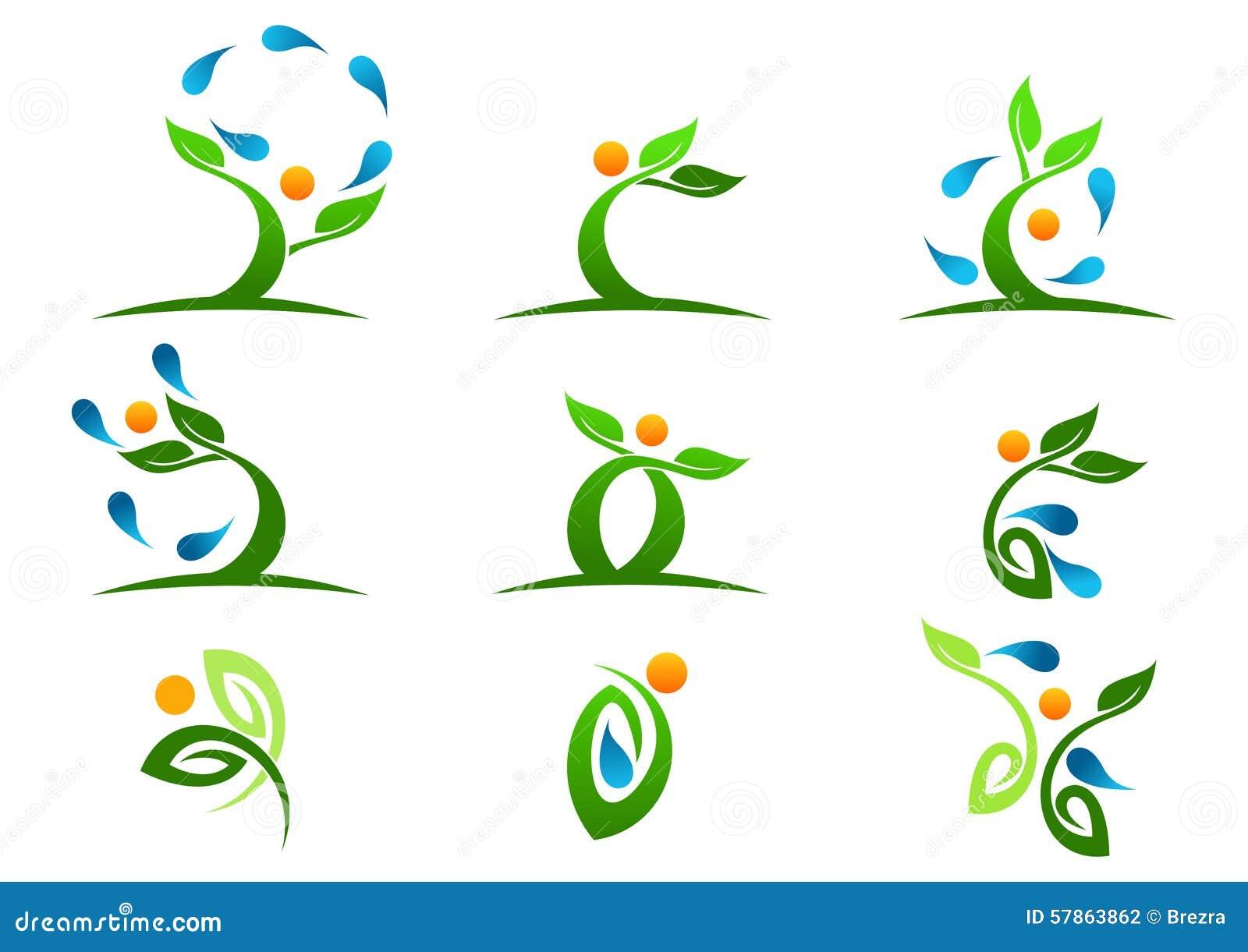 Árbol, planta, gente, agua, natural, logotipo, salud, sol, hoja, ecología, sistema del vector del diseño del icono del símbolo