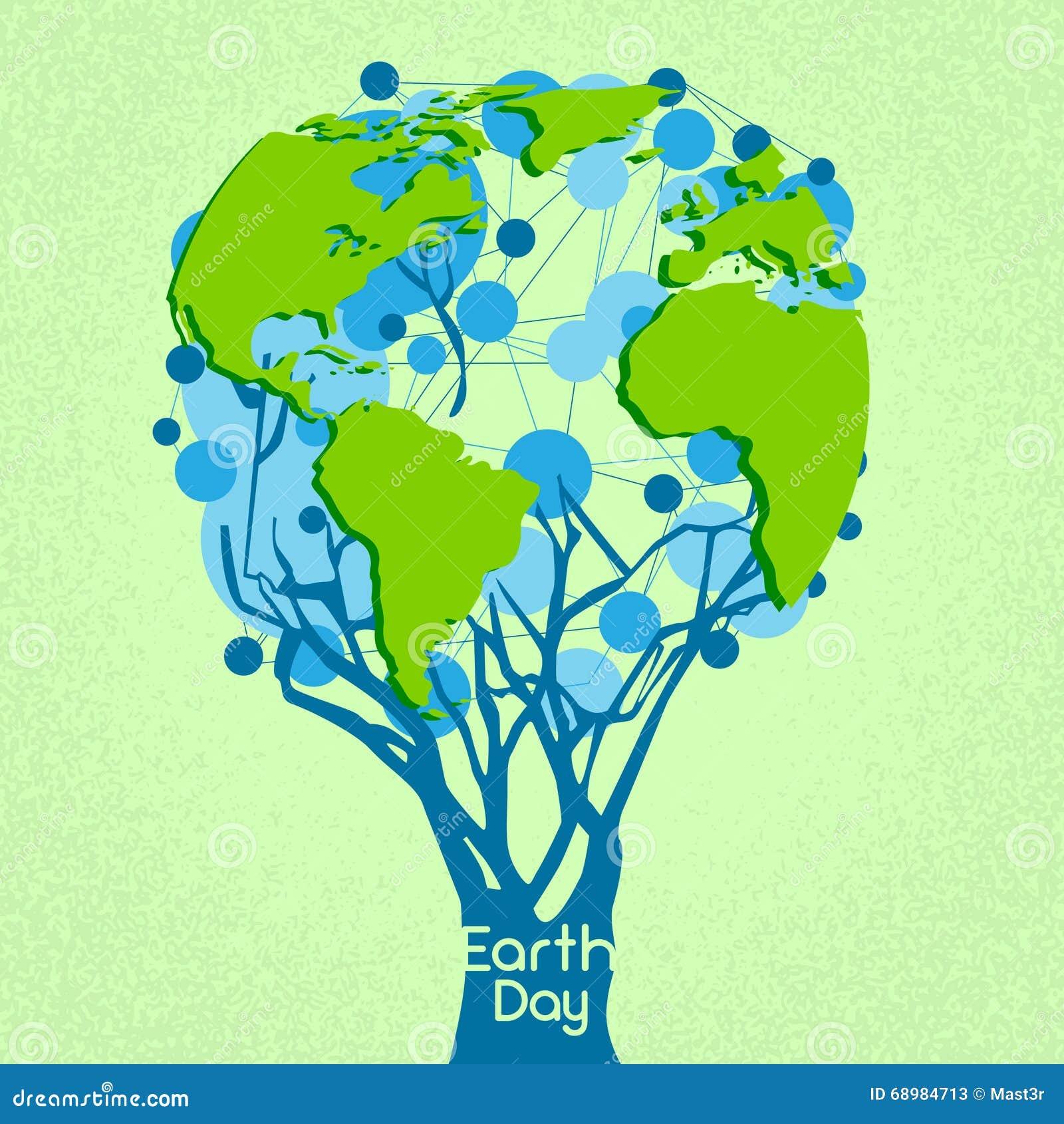 Árbol verde del Día de la Tierra con concepto del mundo del globo