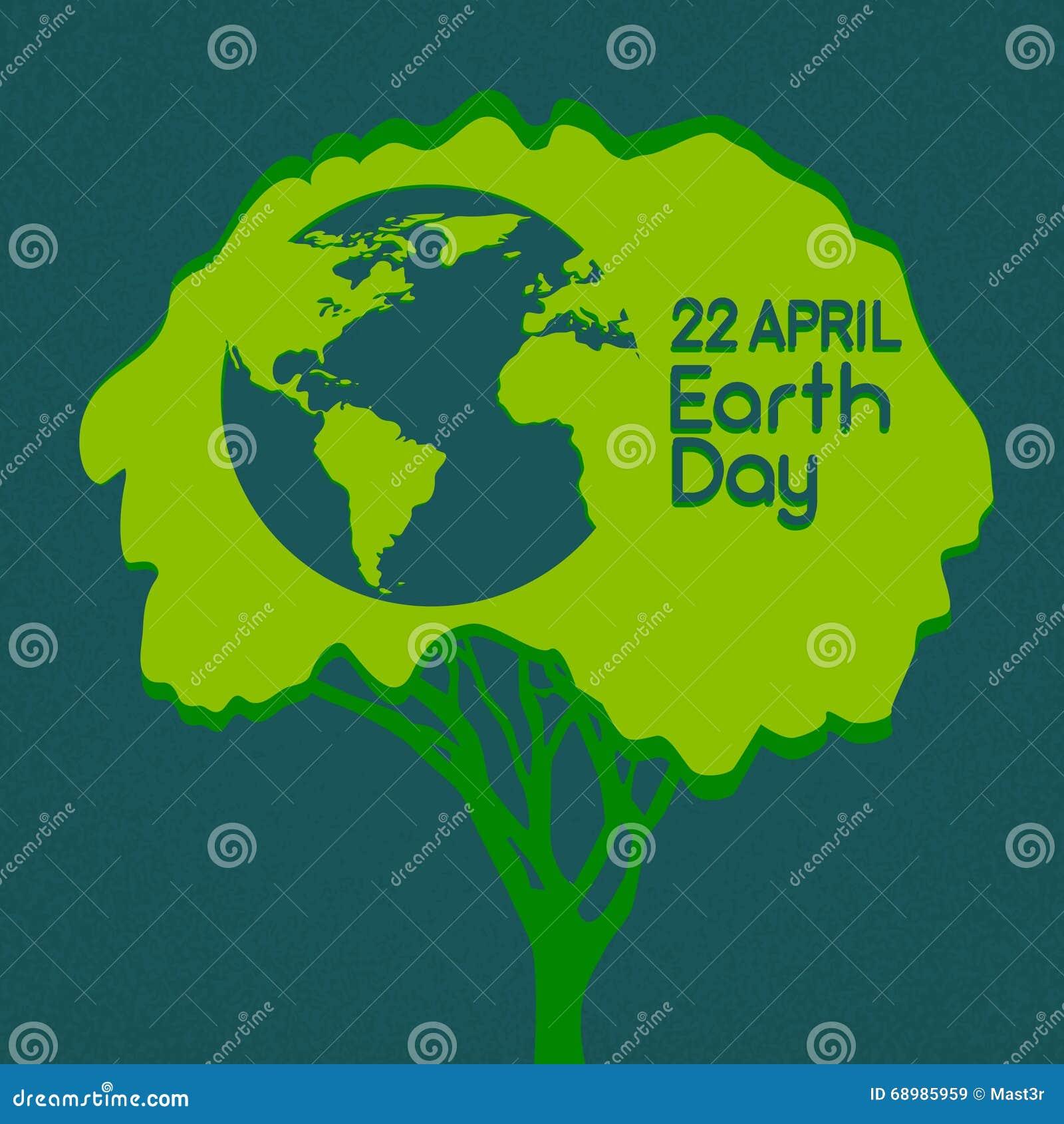 Árbol verde del Día de la Tierra con la silueta del mundo del globo