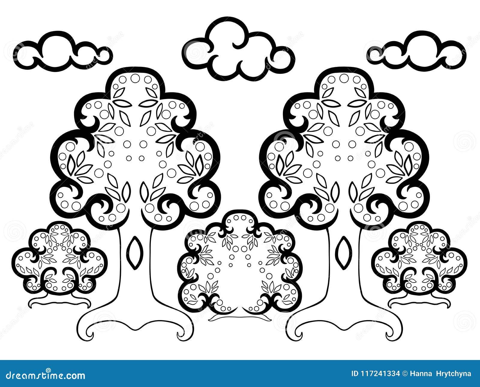 Dibujos Para Colorear De Arboles Frutales: Dibujo De Árbol Animado Para