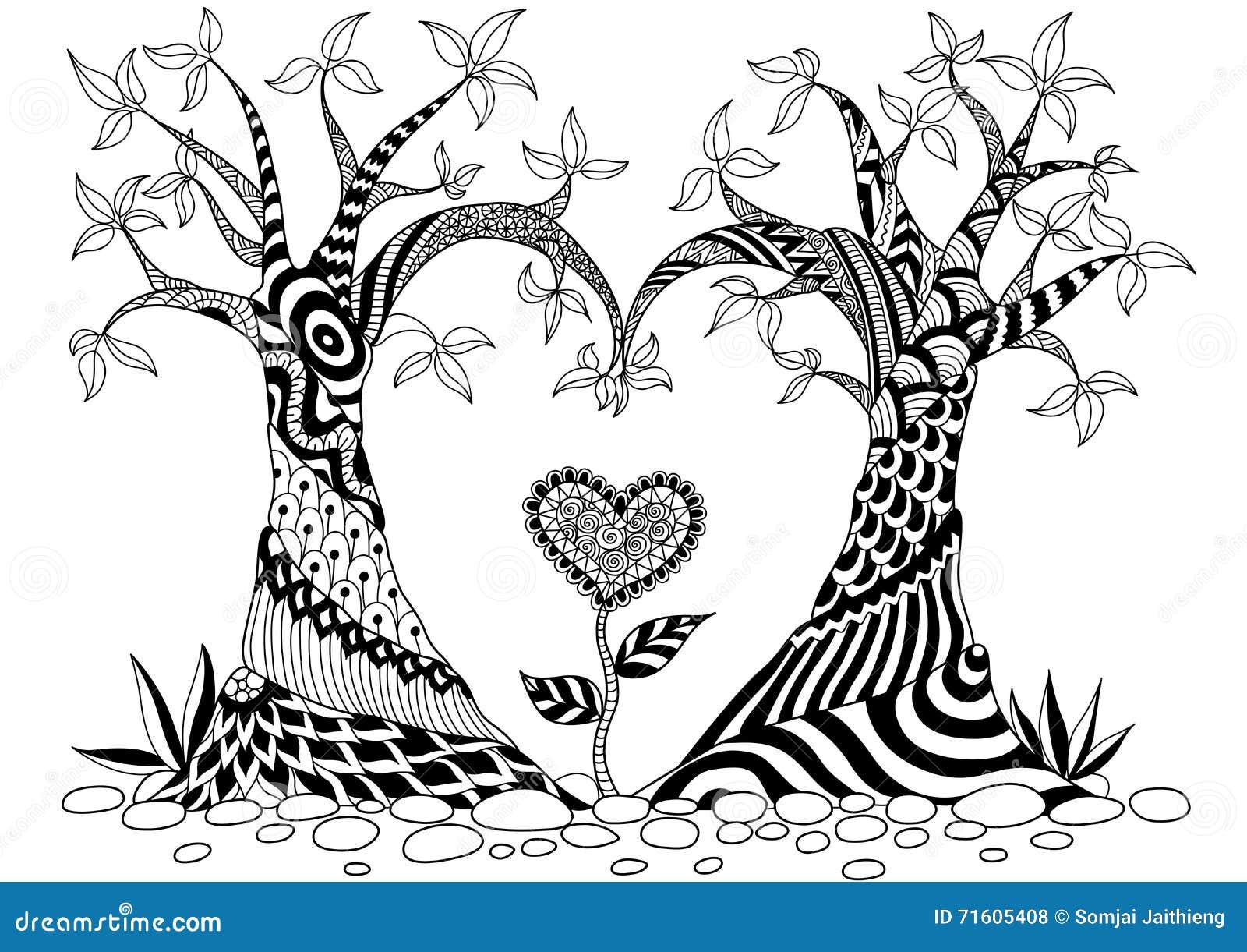 Árboles Abstractos En Forma Del Corazón Ilustración del Vector ...
