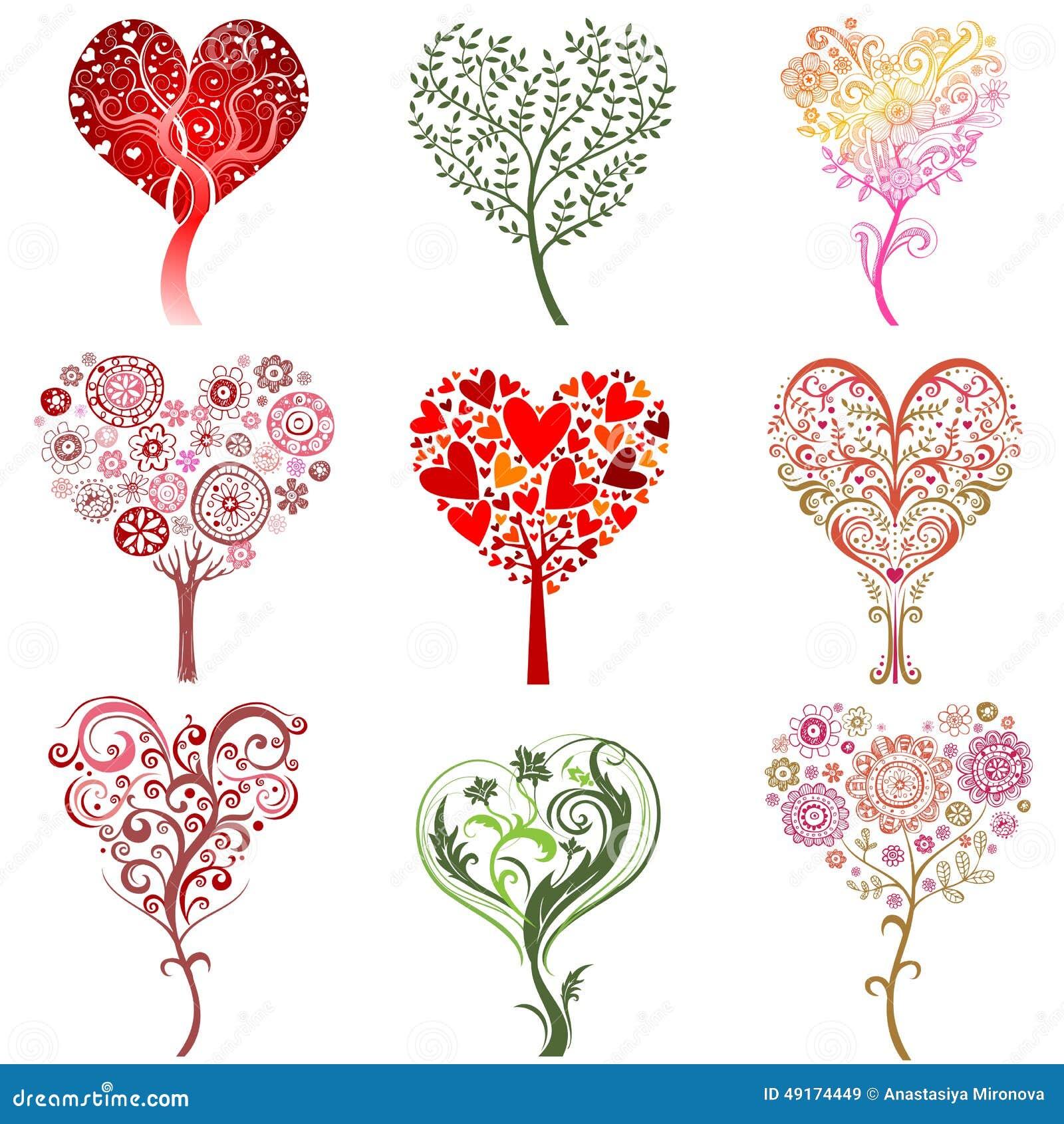 árboles Bajo La Forma De Corazón Ilustración Del Vector