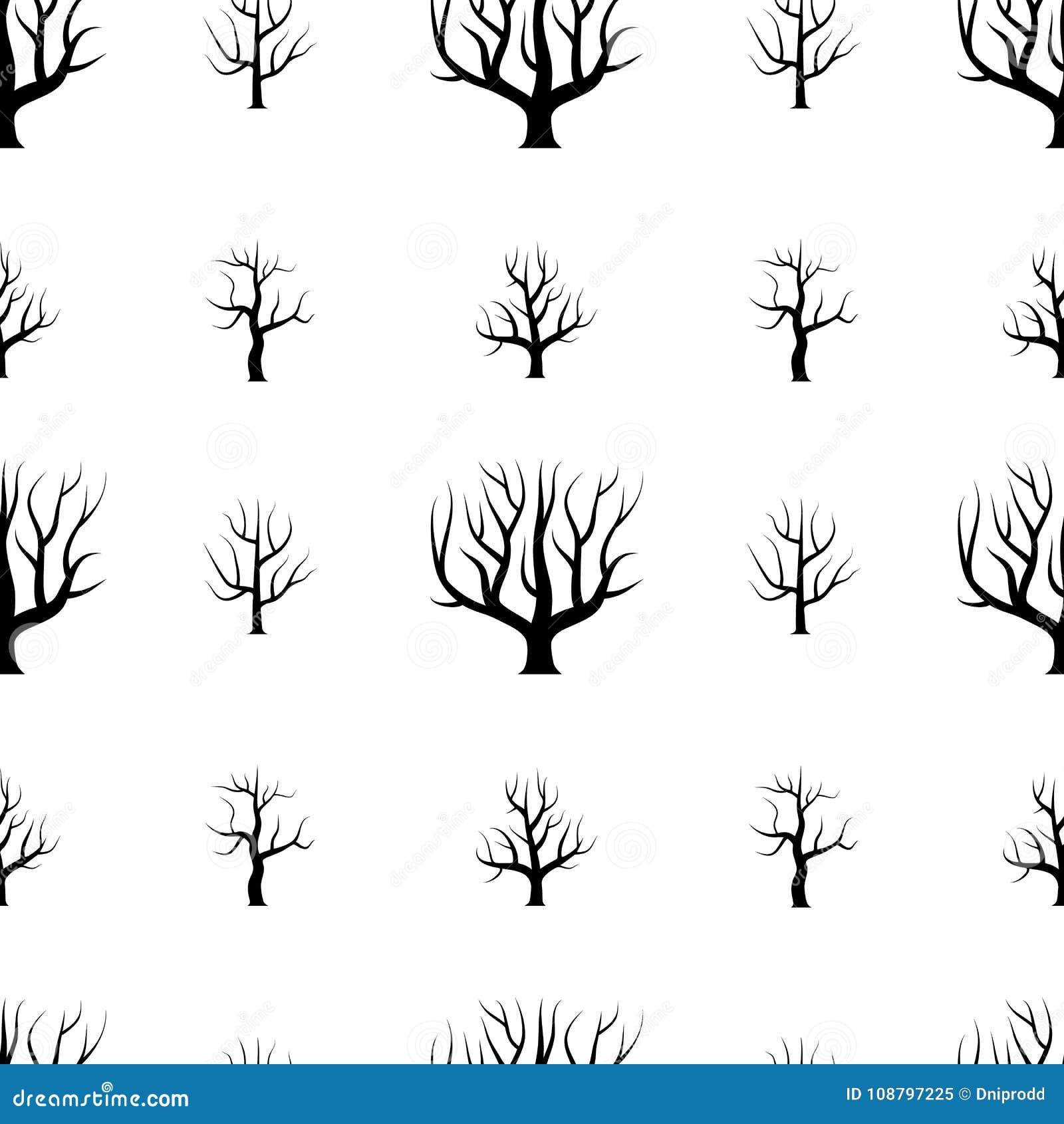 Árboles curvados blancos y negros inconsútiles sin fondos de las hojas