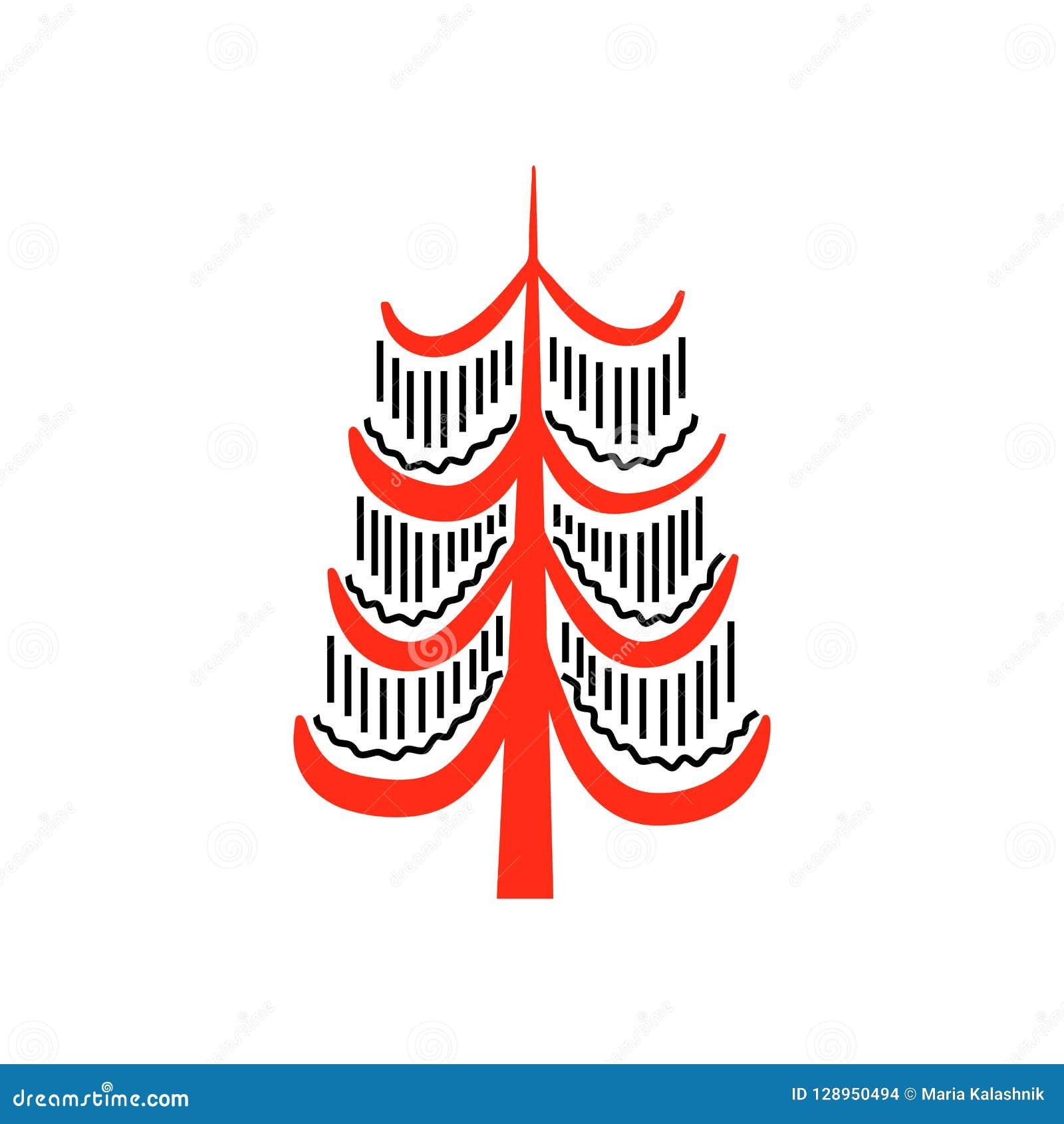 Árboles de hadas fantásticos rojos y negros Pinturas septentrionales nacionales Artesanías populares enchanting