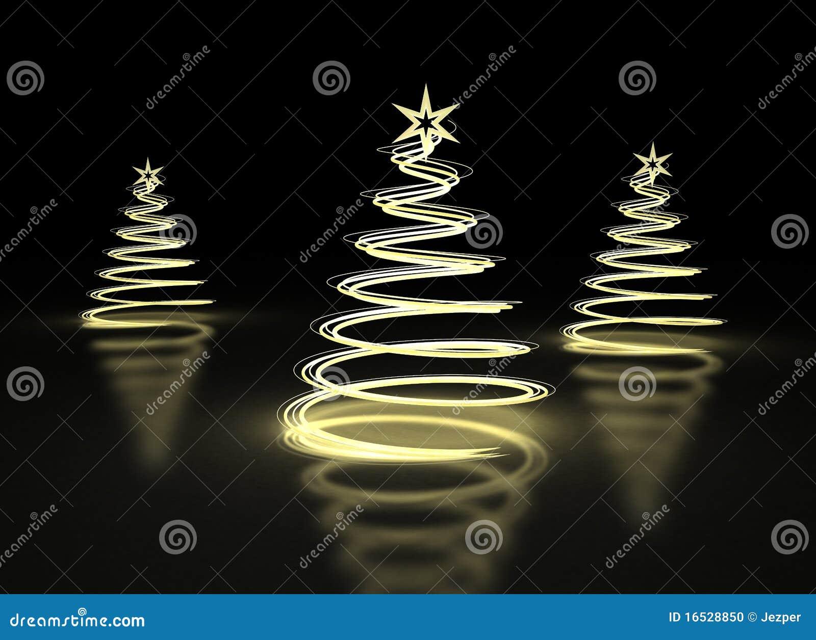 Árboles de navidad de oro abstractos en fondo oscuro