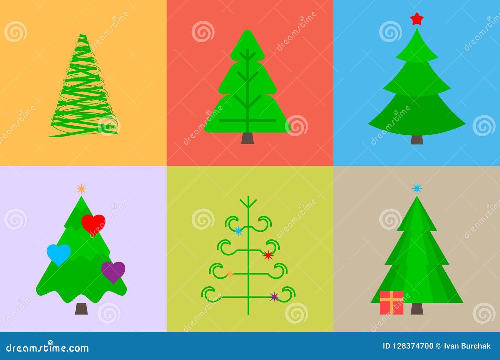 Presentaciones Feliz Navidad.Arboles De Navidad Del Vector De Diversas Formas Elementos