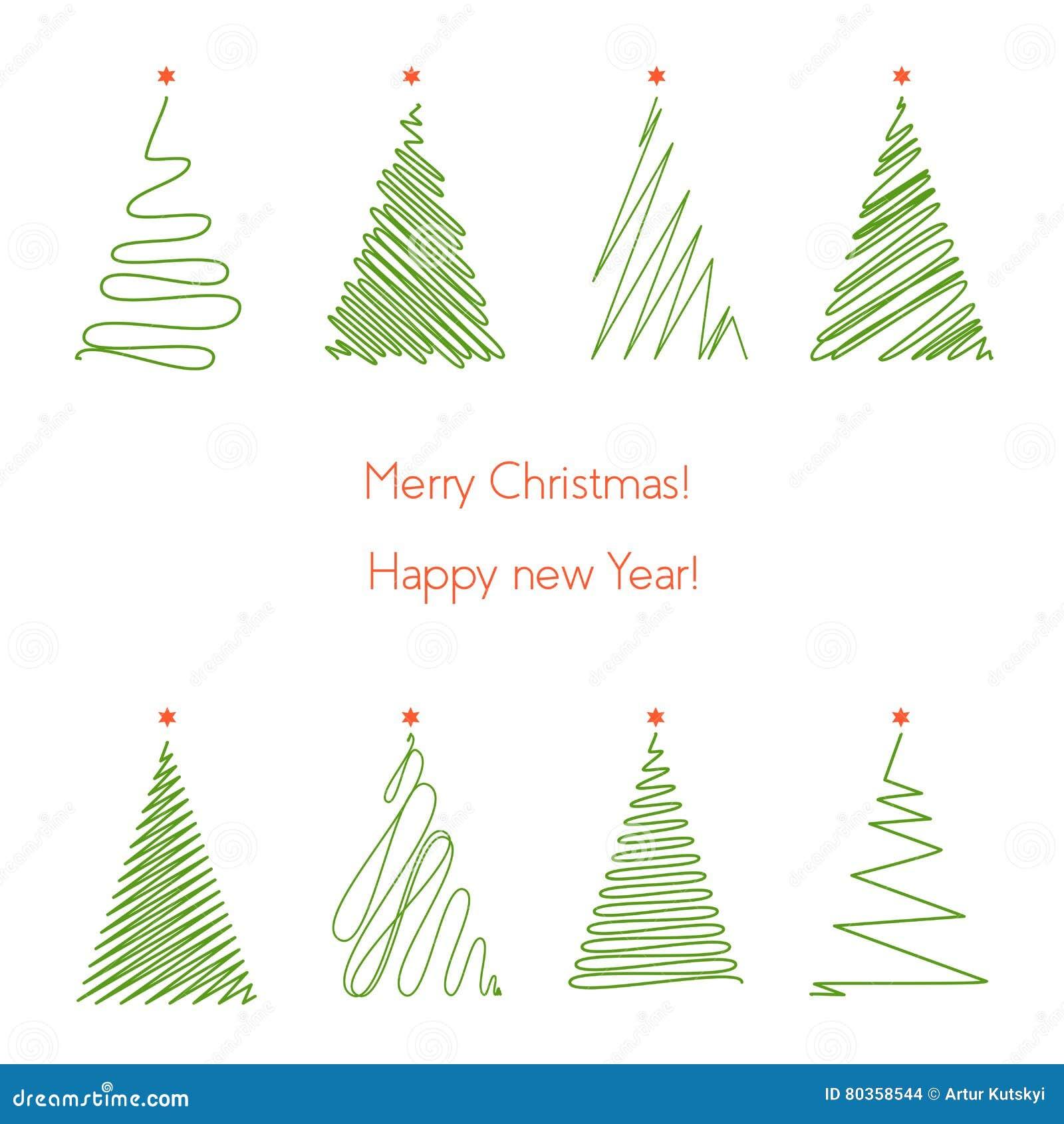 perfect rboles de navidad fijados lnea rbol de navidad del dibujo de la mano del grfico