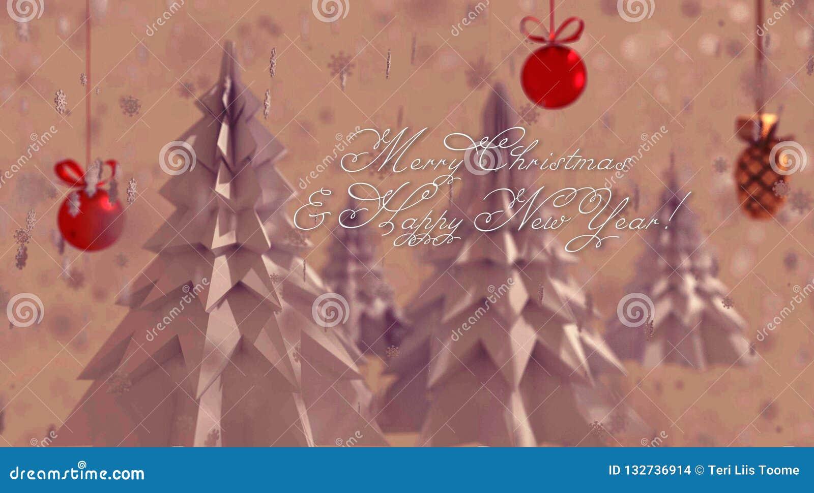 Árboles de navidad de la papiroflexia en el rosa, fondo nevoso