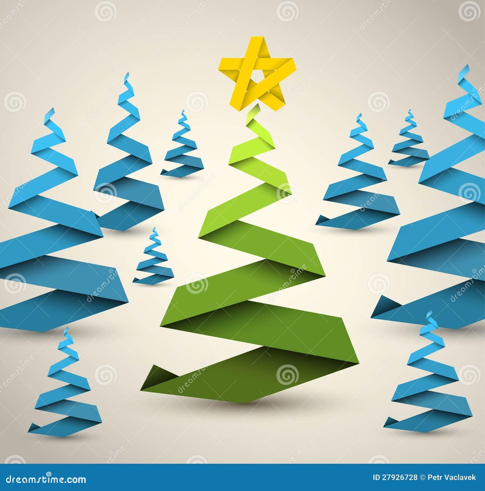 Rboles de navidad simples del papel del vector - Arbol de navidad de origami ...