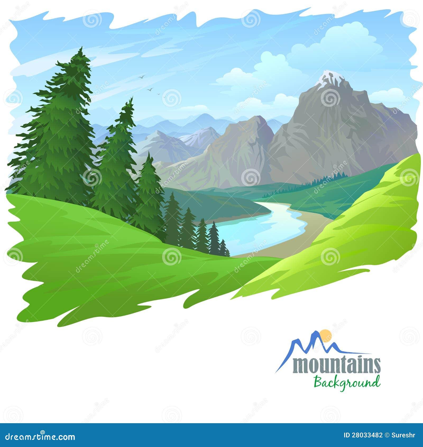 Árboles de pino, montañas y colinas verdes