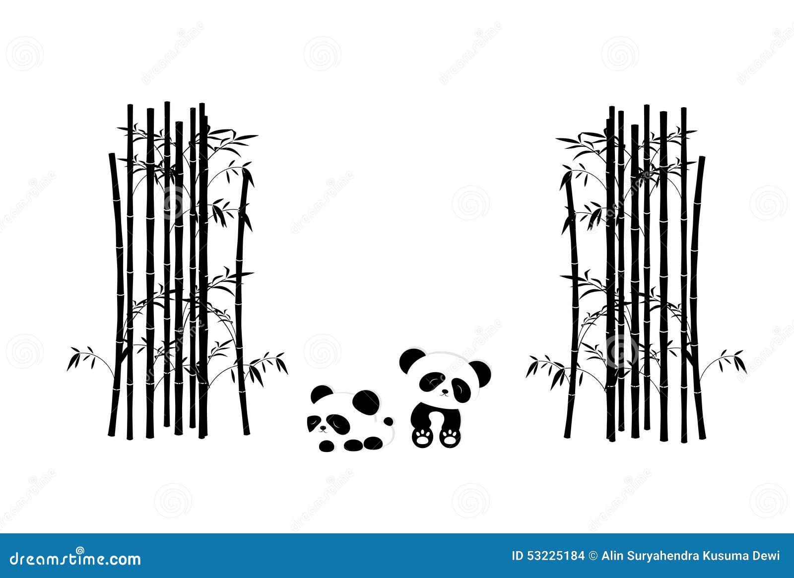 Árboles divertidos de Panda Playing In The Bamboo - color blanco y negro