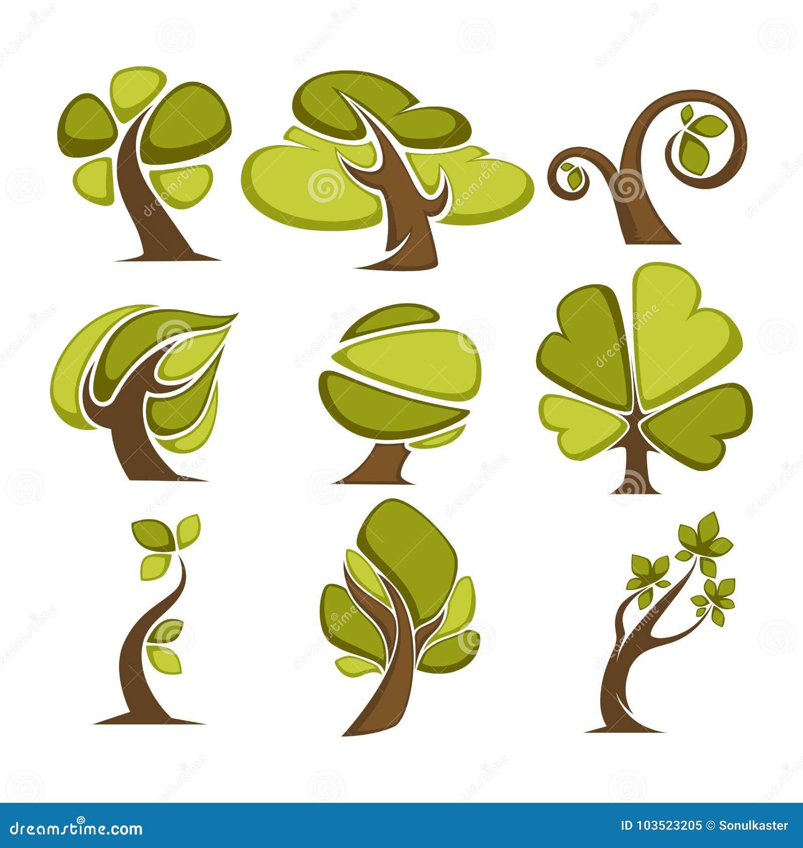 árboles E Iconos De La Hoja Del árbol O Plantillas Verdes Del