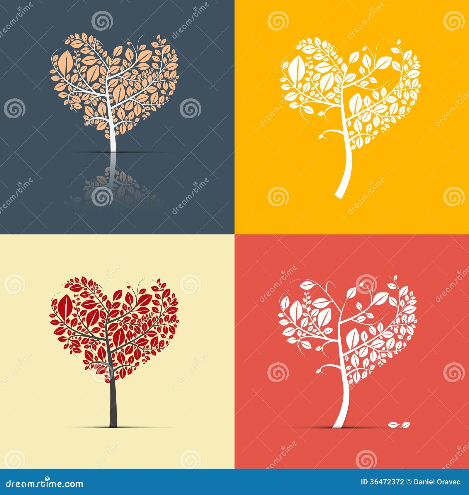 árboles En Forma De Corazón Abstractos En Fondo Retro Ilustración